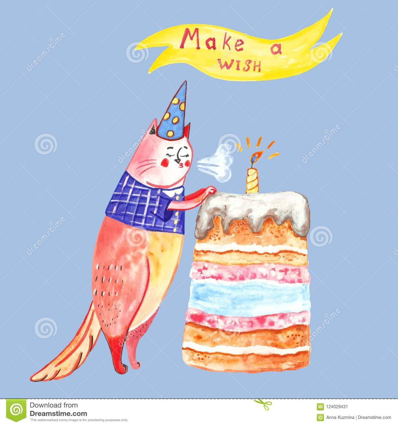 Greeting Card For Birthday In Cartoon Style Adorable Cat And Cake With Candle To Make Wishes
