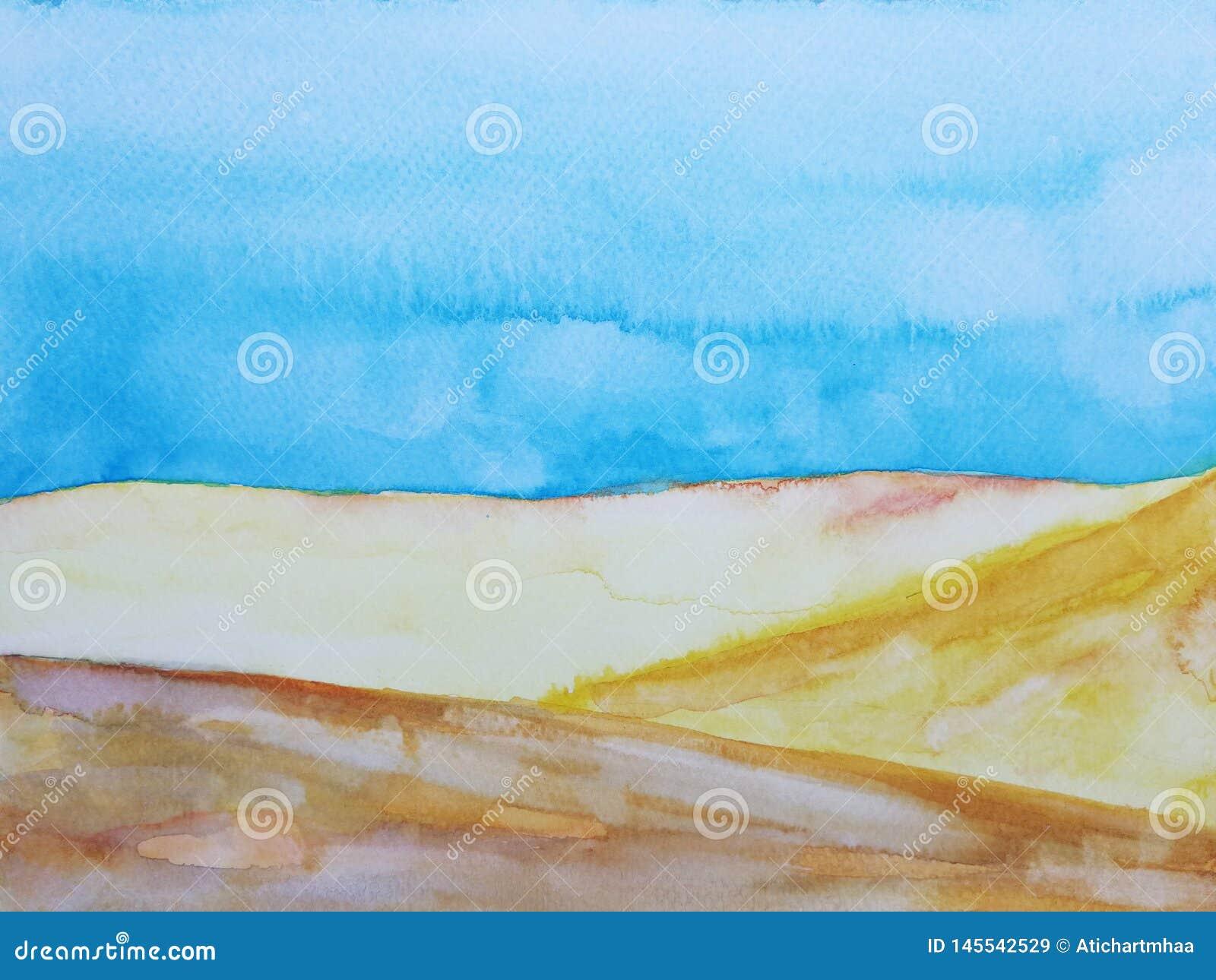Watercolor hand drawn illustration landscape desert