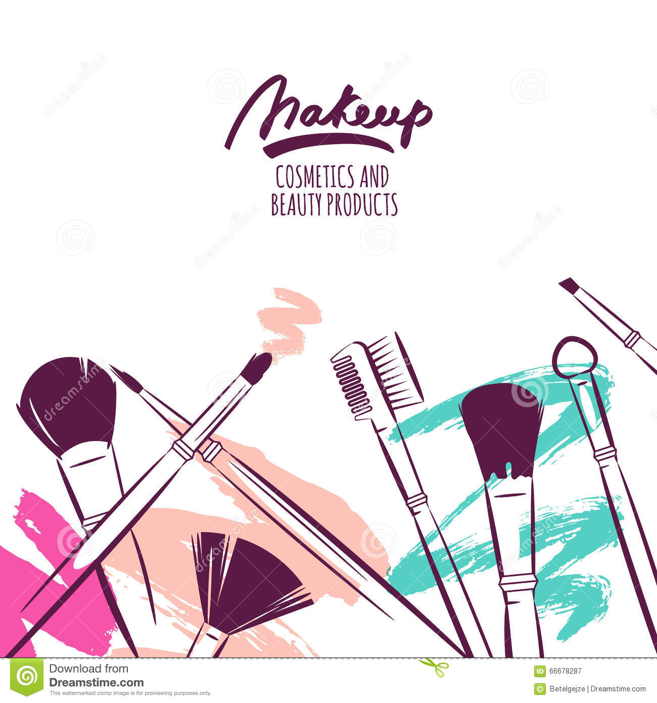 Watercolor Hand Drawn Illustration Of Makeup Brushes On Colorful Grunge Background. Cartoon ...