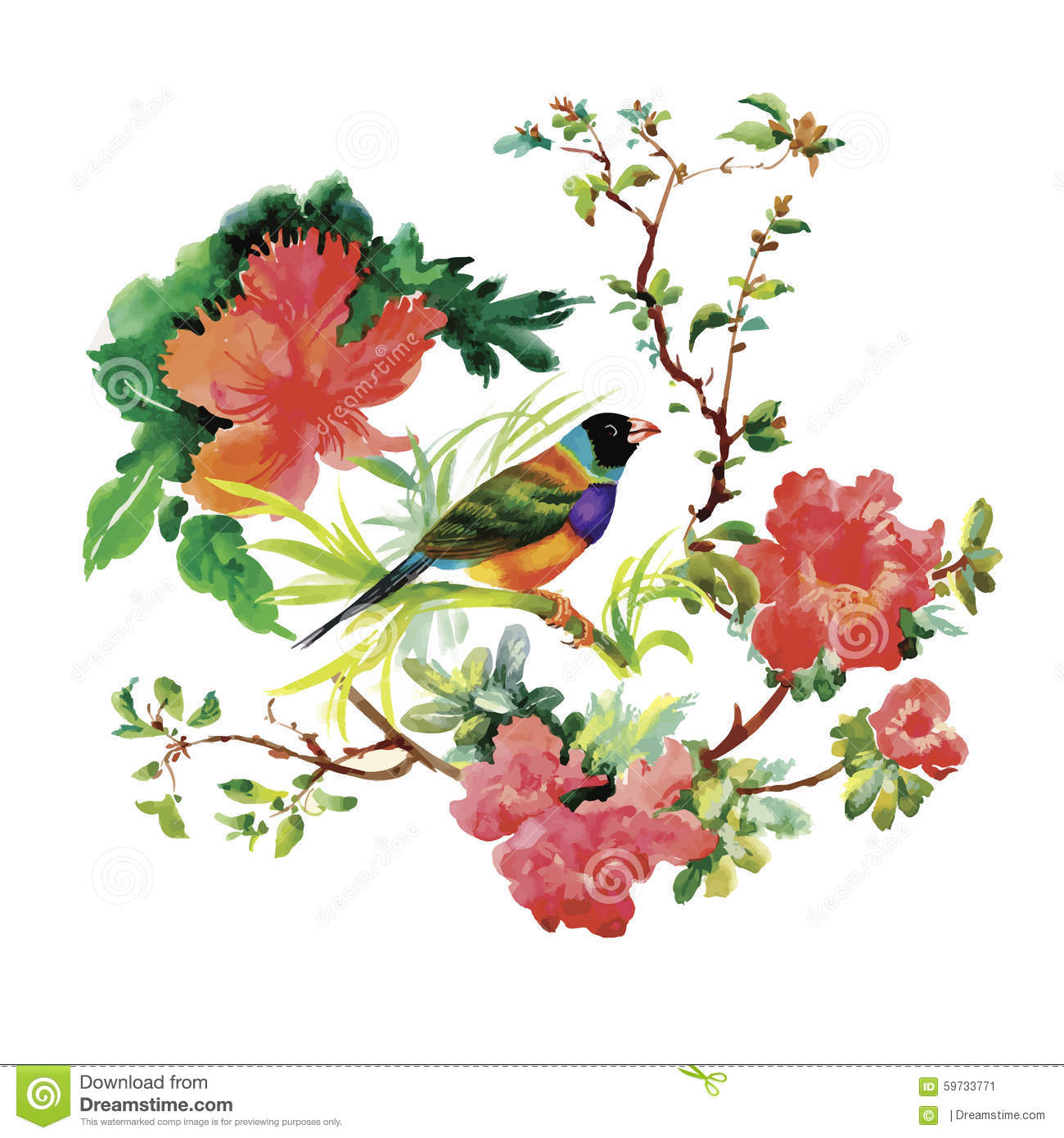 Watercolor Hand Drawn Pattern With Tropical Summer Flowers Of And