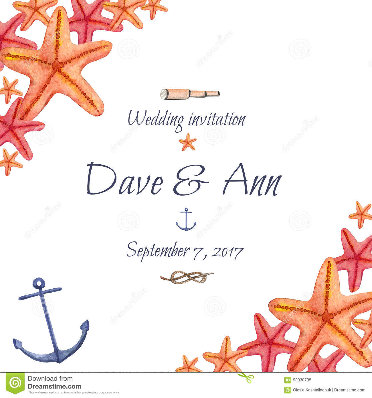 Watercolor Hand Drawn Sea Nautical Wedding Invitation Card Royalty Free Illustration