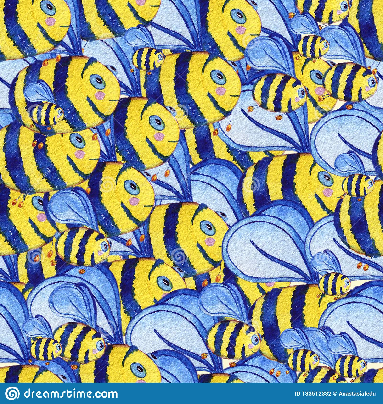 Watercolor hand drawn seamless pattern with bees