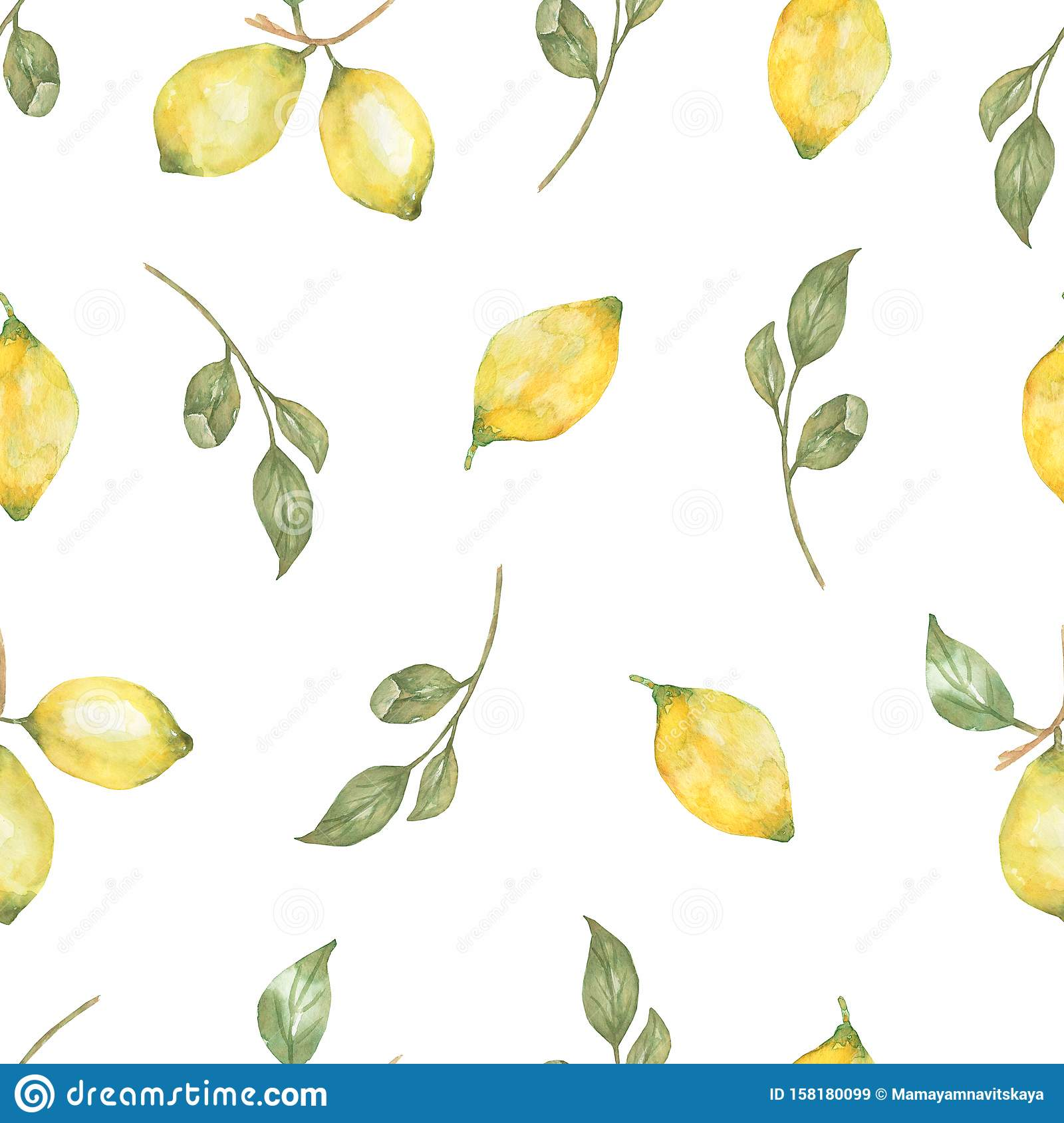 Watercolor hand drawn Seamless pattern. Yellow citrus fruitfruit fruit. Sicily Lemon, leaves and flowers. Tropical illustration
