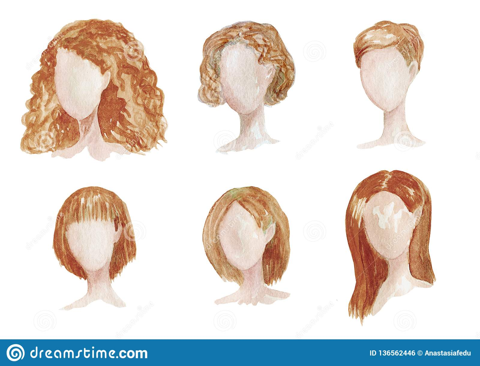 Watercolor hand drawn set with different types of female hairstyles for long,curly,chort hair. Women brown haircut illustration