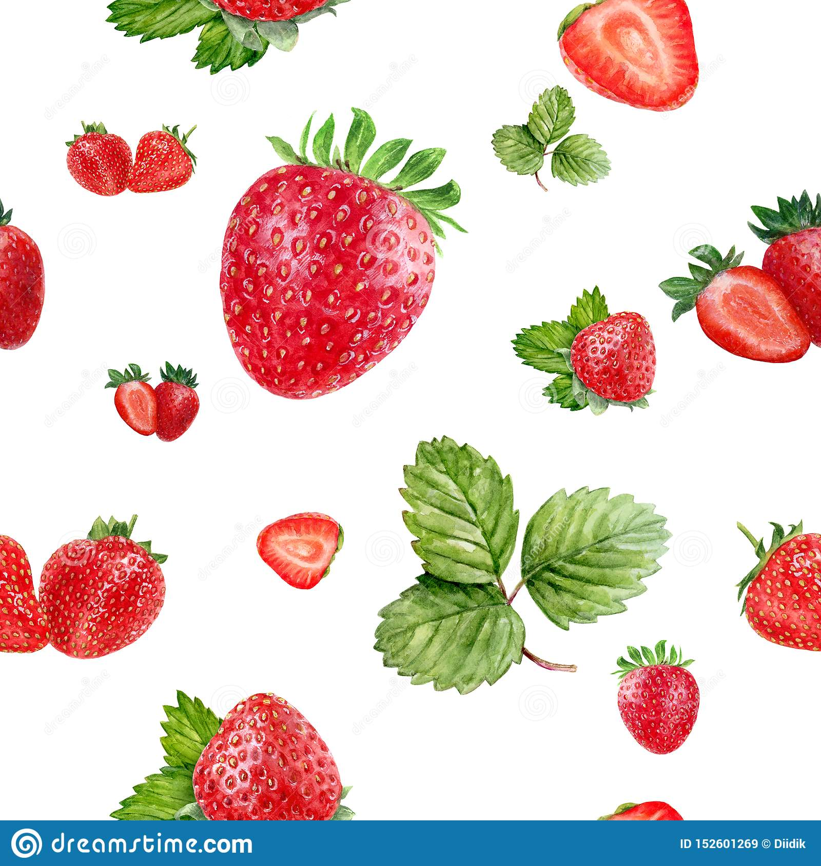 Watercolor hand drawn strawberry isolated seamless pattern.