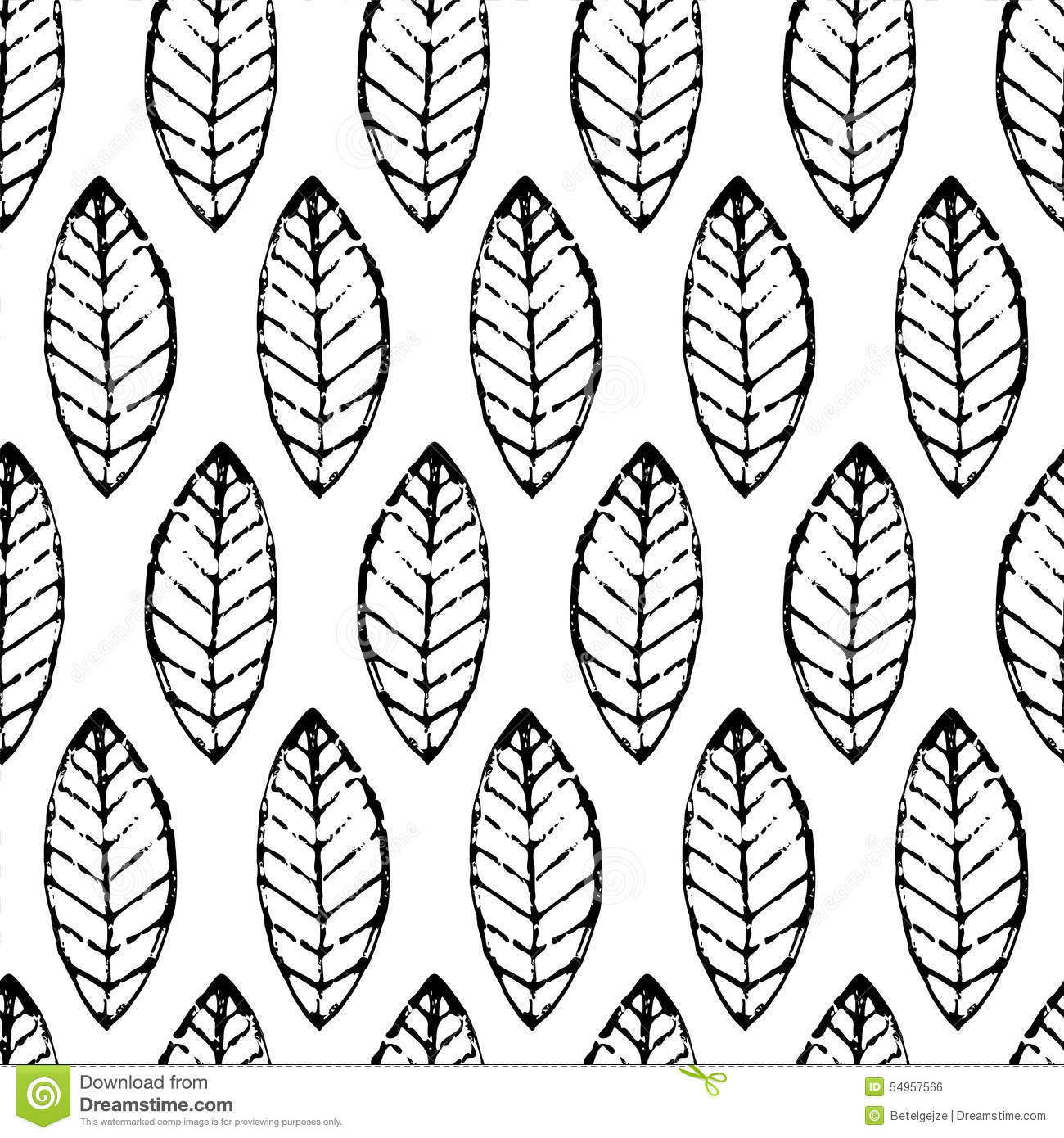 Watercolor hand drawn vector leaf seamless pattern. Abstract grunge black and white texture background. Nature organic line illus