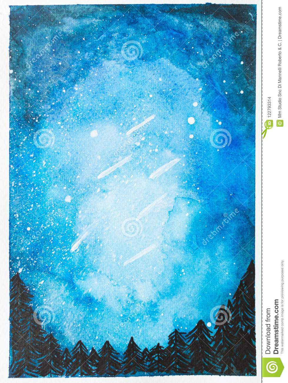 Watercolor hand painted blue night sky with falling stars and tr