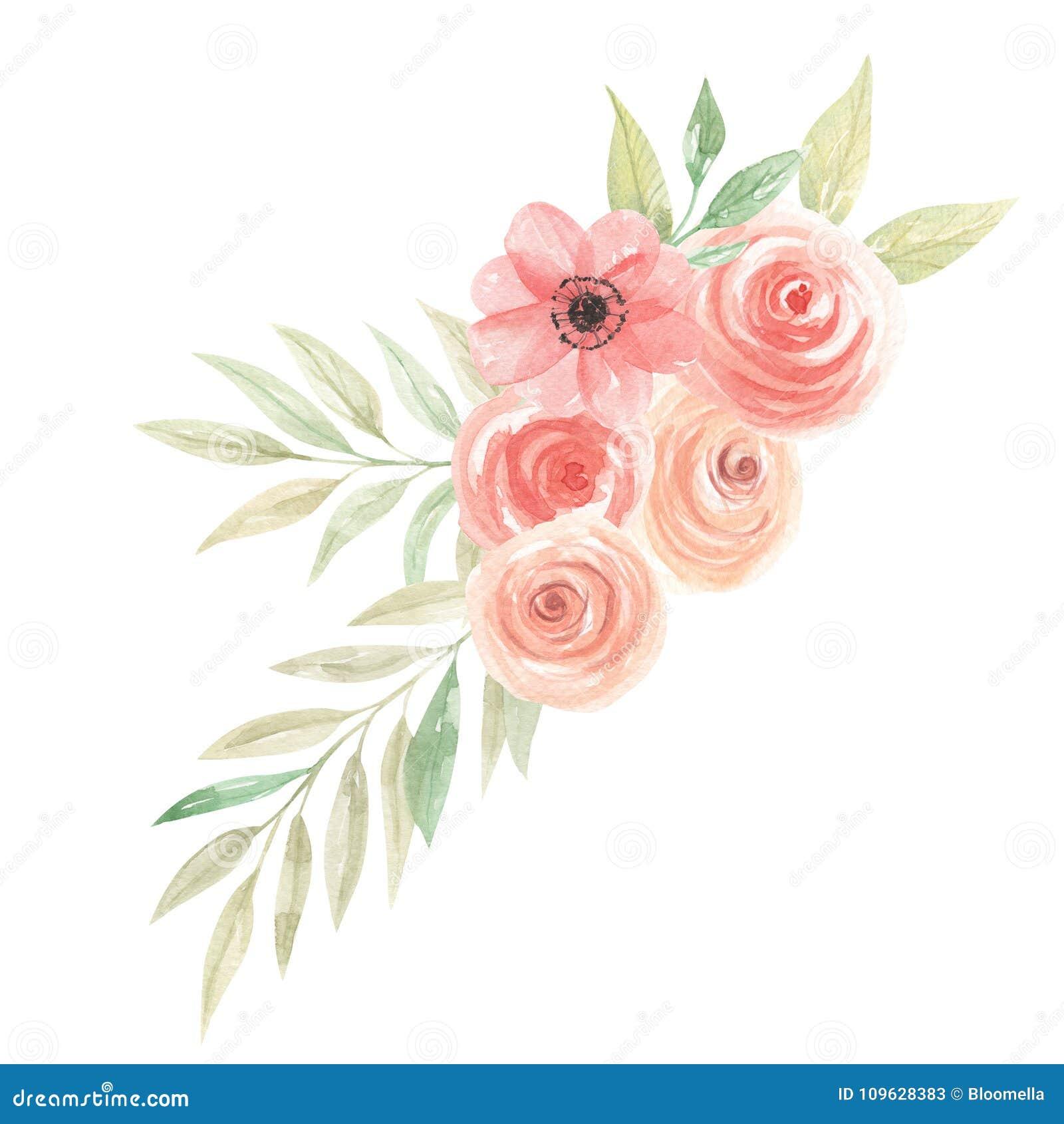 watercolor flowers peach bouquet floral coral painted