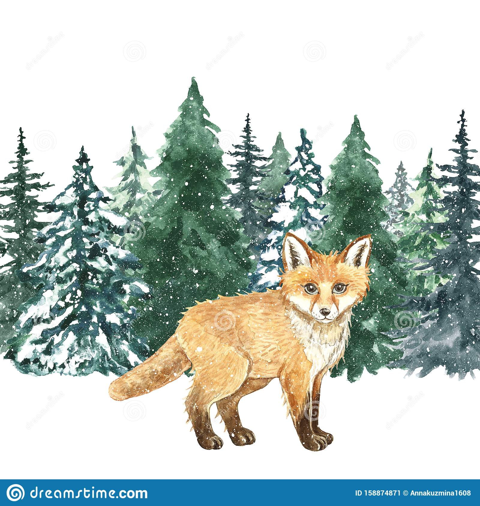 watercolor hand painted fox winter forest christmas background little cute wild animal watercolor winter pine forest 158874871