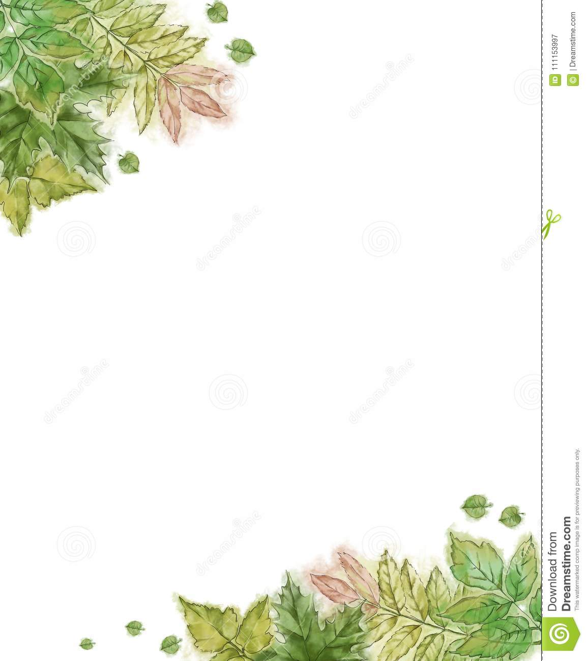 watercolor hand painted green leaf stationery painted tree leaves