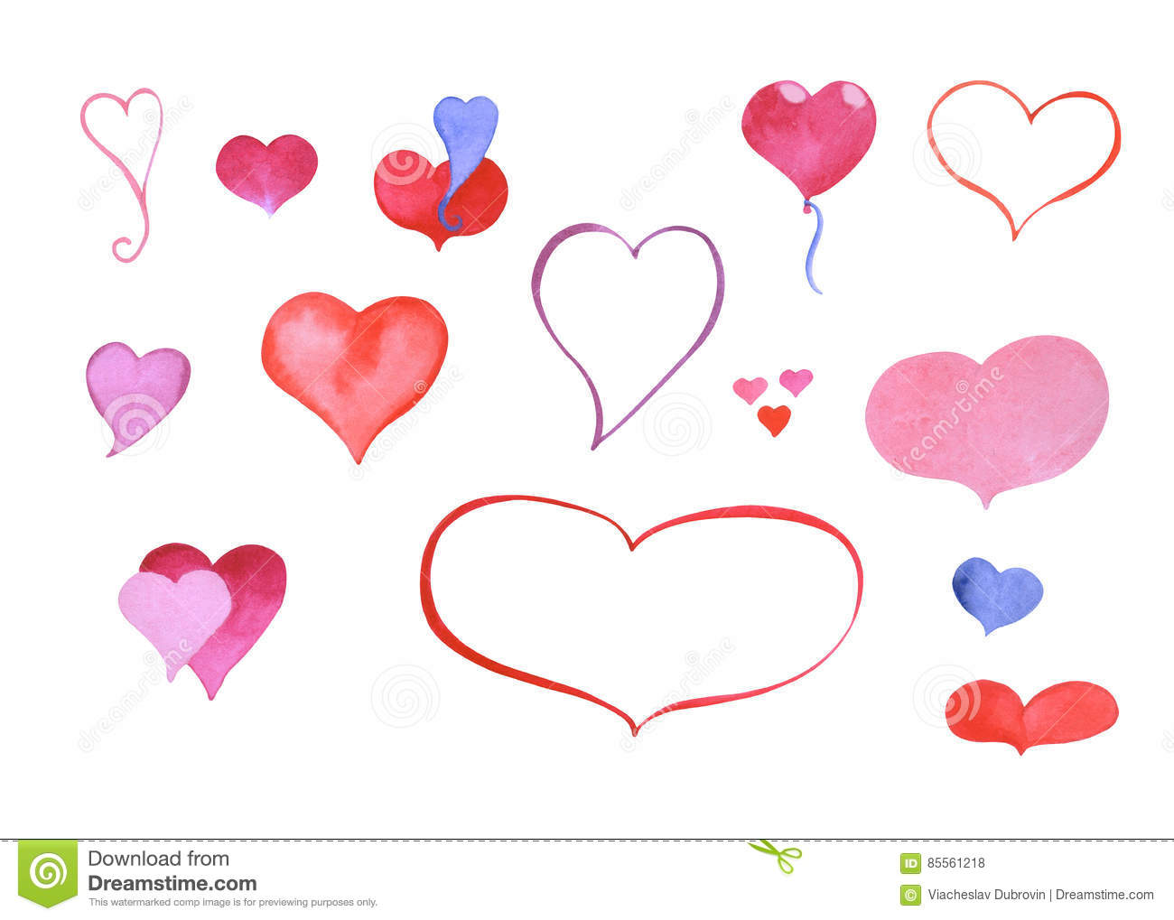 Watercolor Hand Painted Heart Symbol Outlined And Colored Clipart