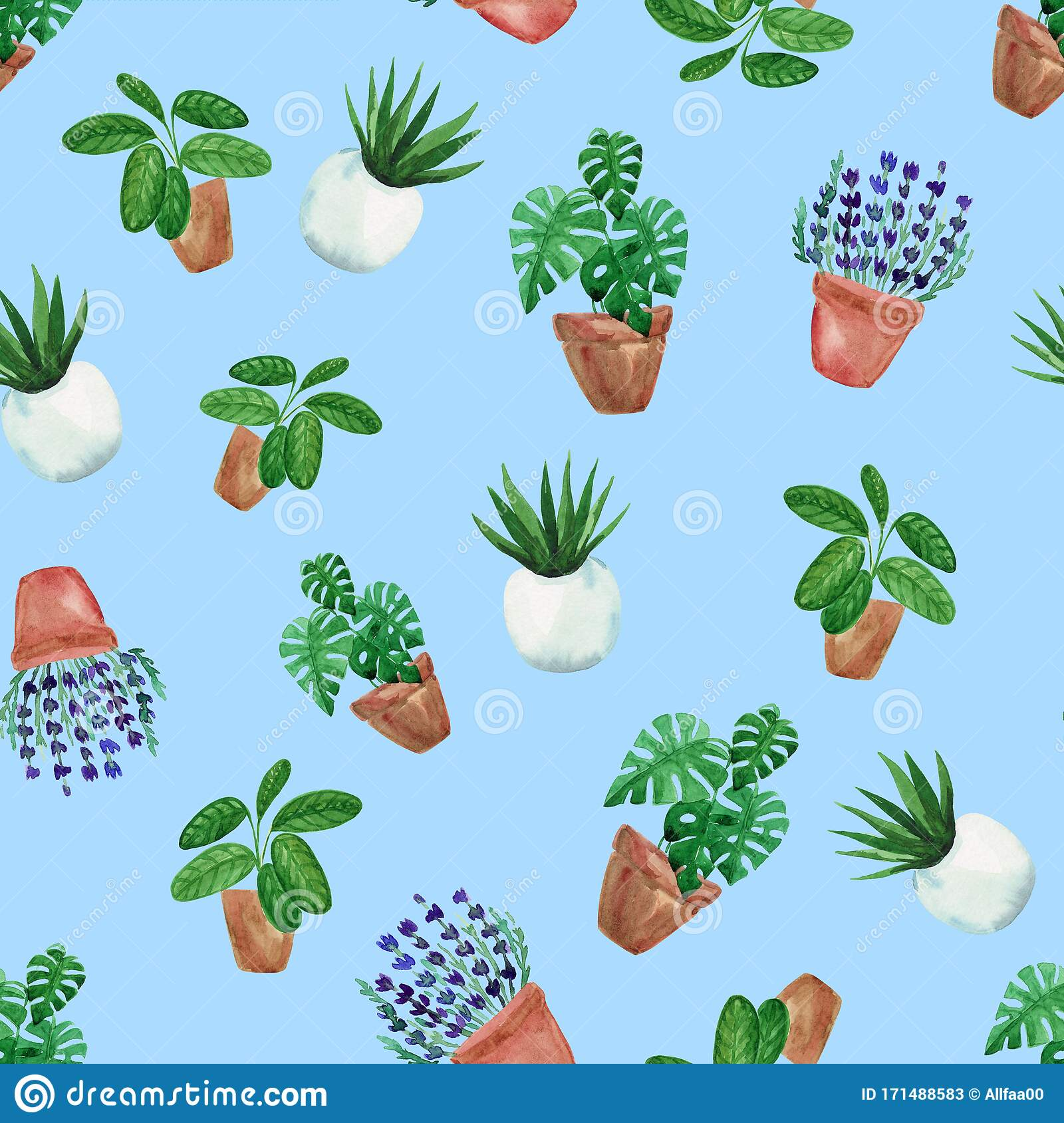 Watercolor Hand Painted House Green Plants In Flower Pots Seamless Pattern Of Floral Elements On Blue Background Stock Illustration Illustration Of Agriculture House 171488583