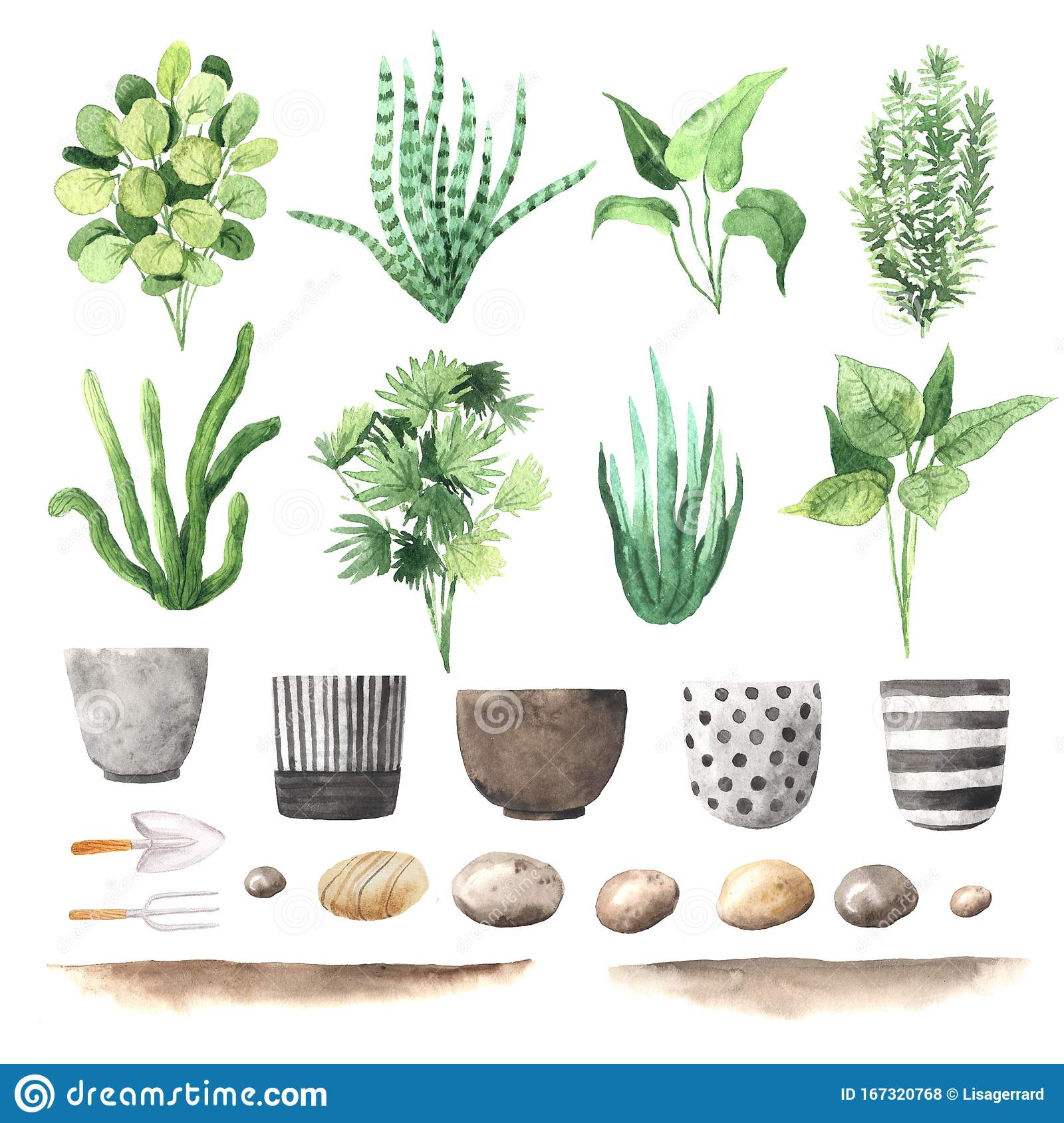 Watercolor Hand Painted House Green Plants Stock Illustration ...