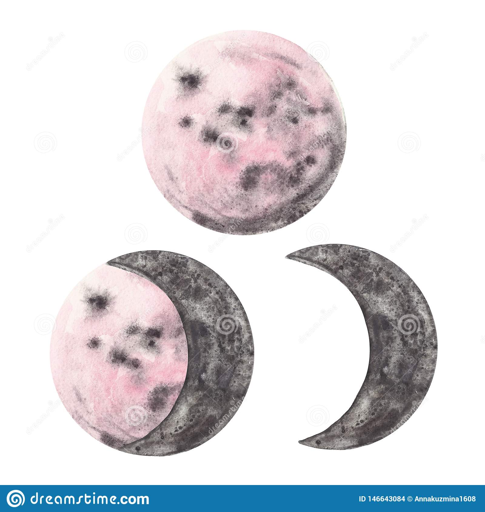 Watercolor hand painted moon phases set. Half and full pink and grey planets, isolated on white background. Magic illustration