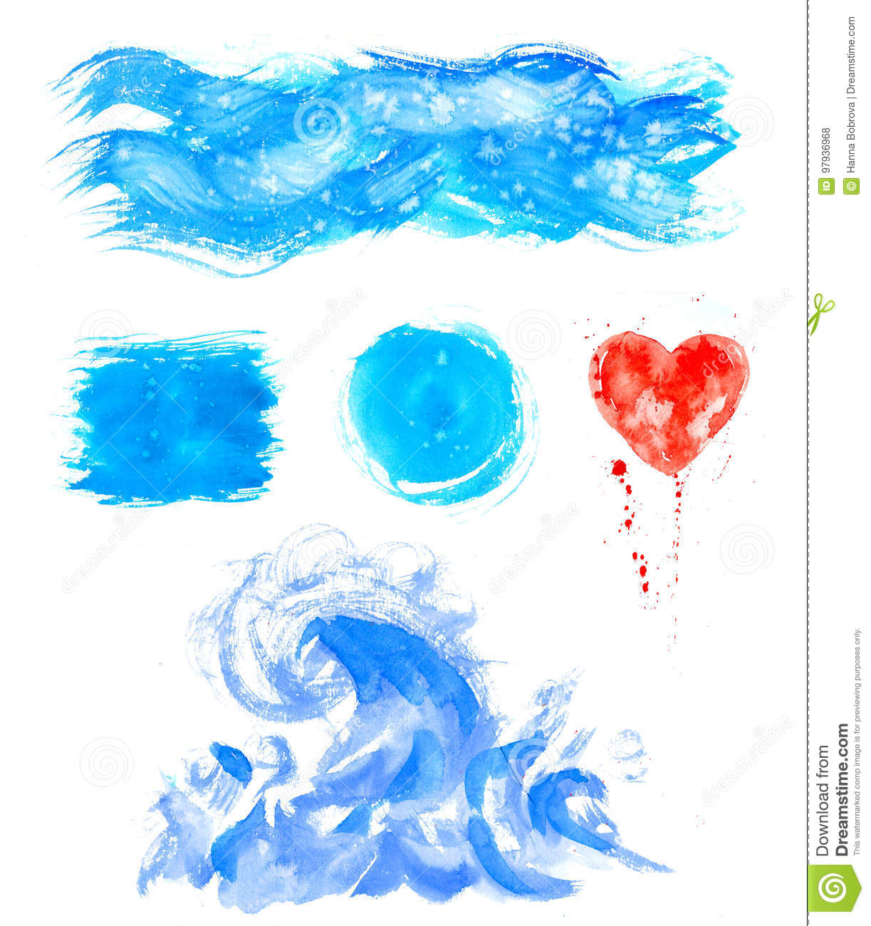 Watercolor hand painting textures.Blue Stains,spot drops,splashes set.