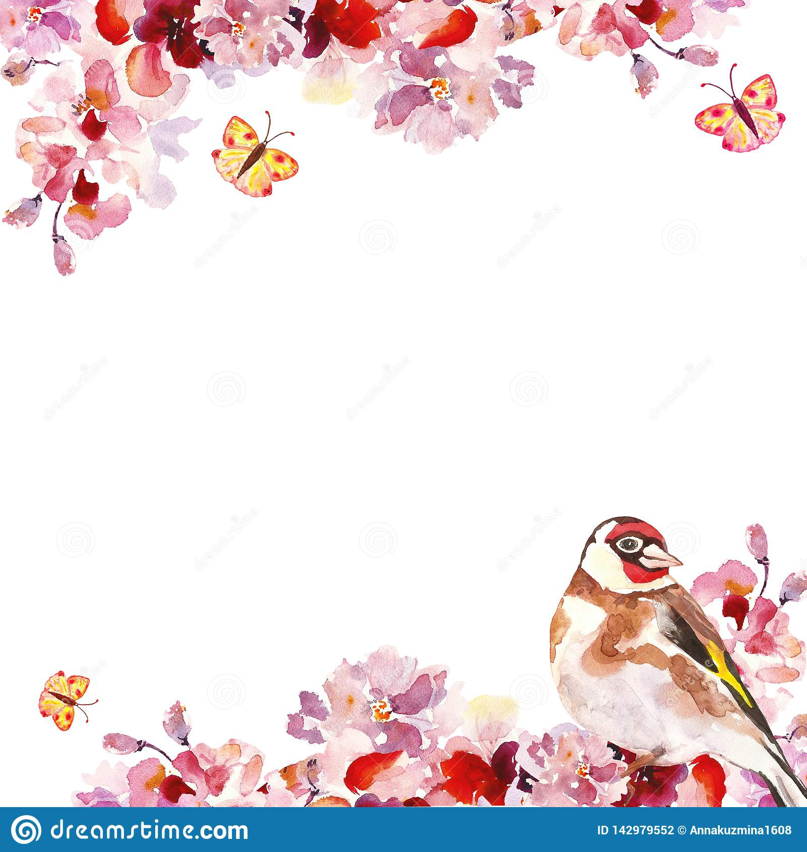 Watercolor hand pink sakura tree branches with bird on white background. Spring floral botanical frame