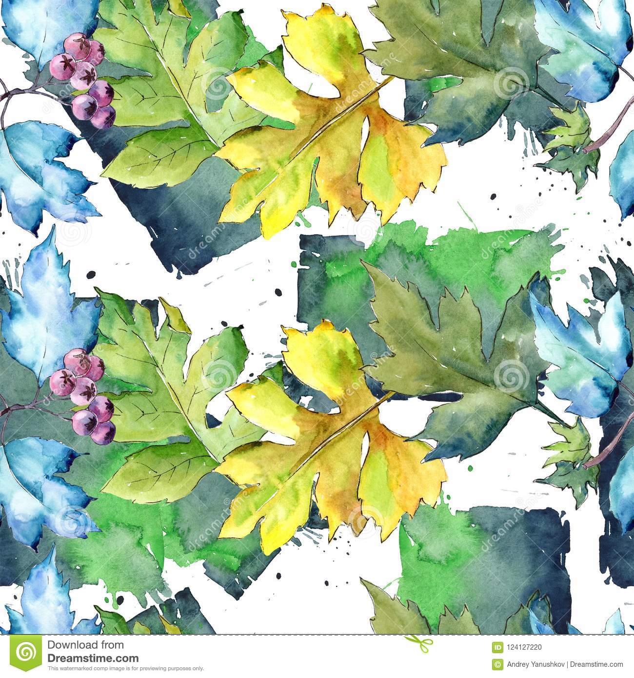 Watercolor Hawthorn Colorful Leaves Leaf Plant Botanical Garden Floral FoliageSeamless Background Pattern Fabric Wallpaper Print Texture