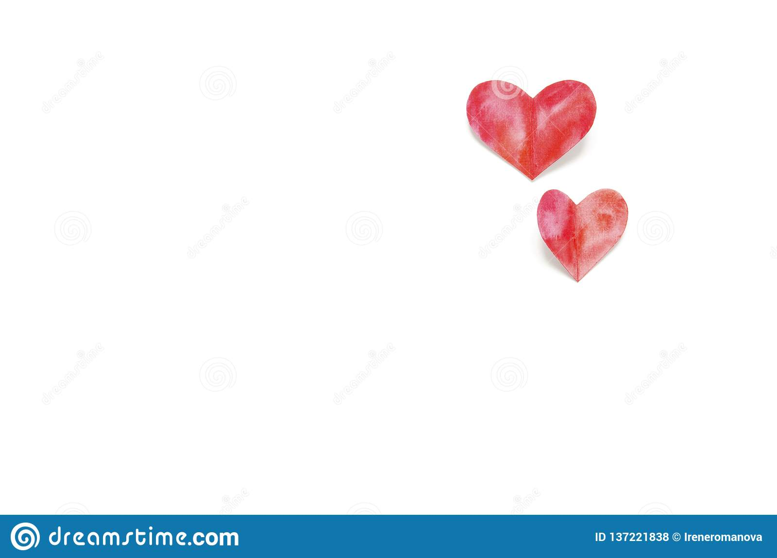 Watercolor hearts. Love concept for mother`s day and valentine`s day. Top view.