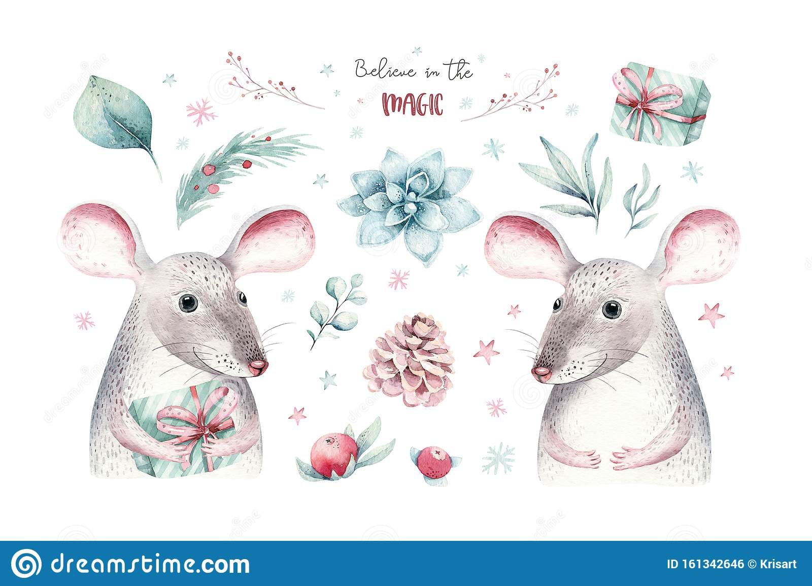 Watercolor holiday christmas rat, mouse clipart. Winter decoration element. Merry christmas design. Pine tree branch