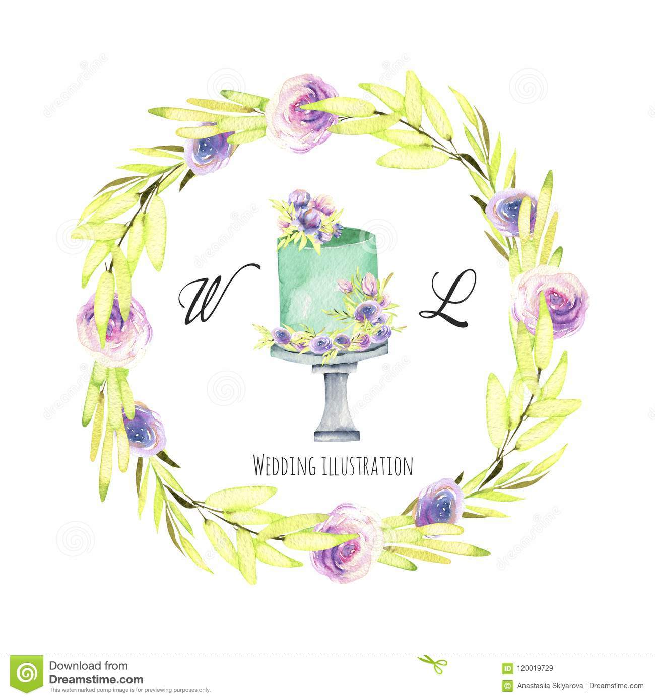 Watercolor Holiday Wedding Cake With Green And Purple Floral Wreath ...