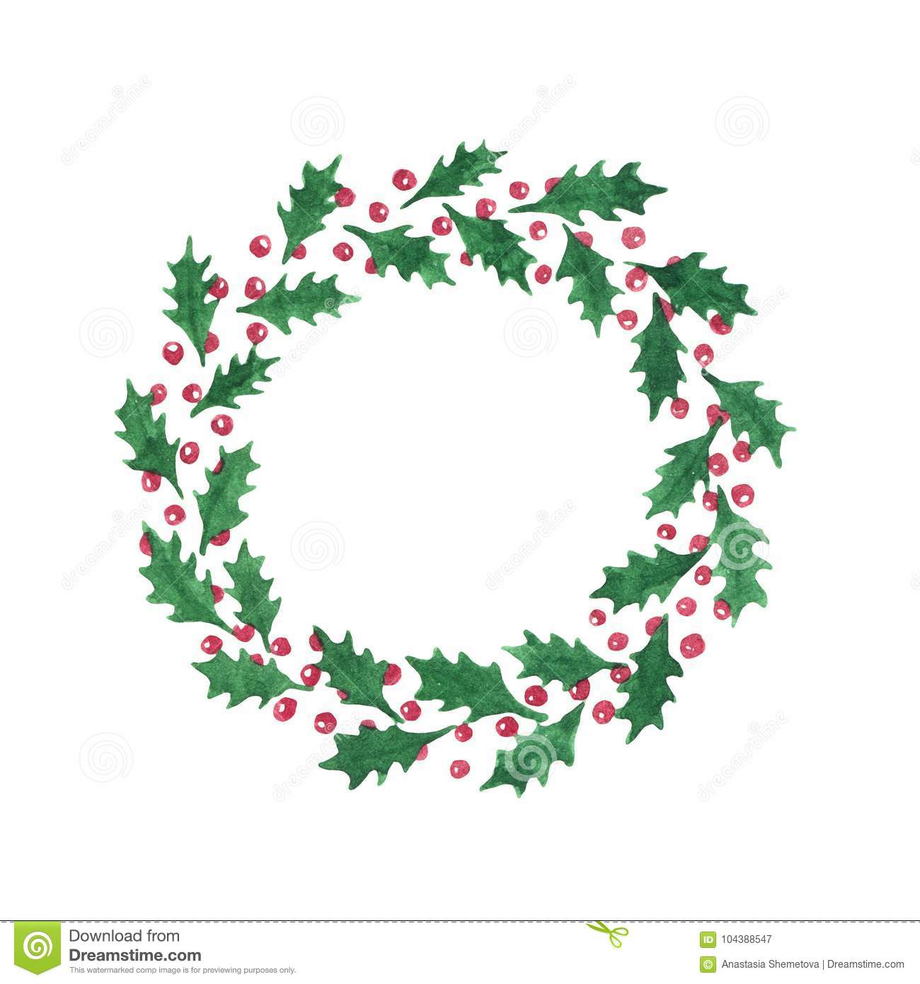 Watercolor Holly Leaves Wreath With Red Berries Isolated On The