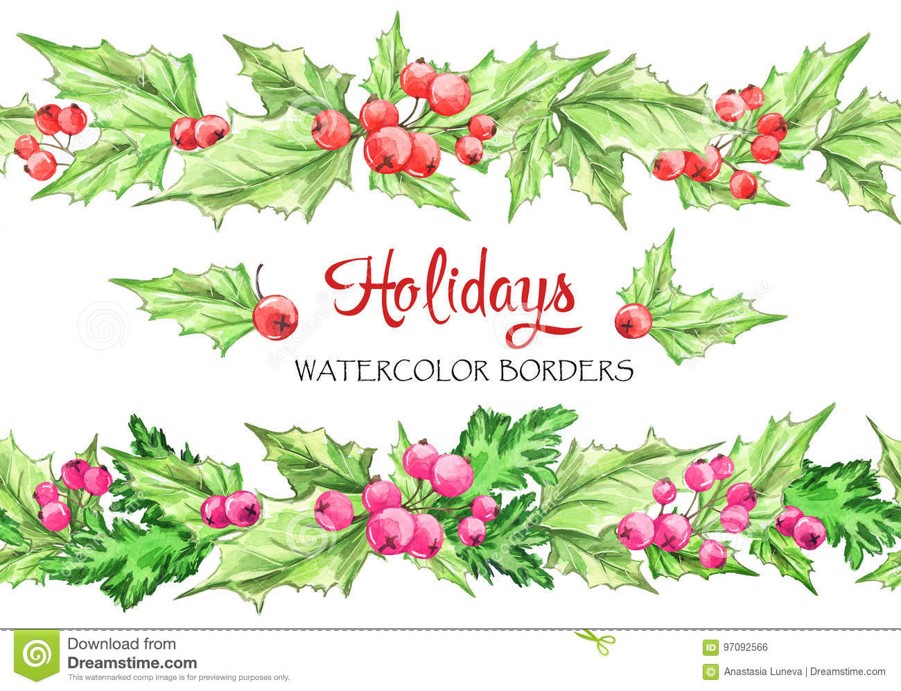 watercolor horizontal garlands hand painted seamless floral borders with rowan and branches christmas