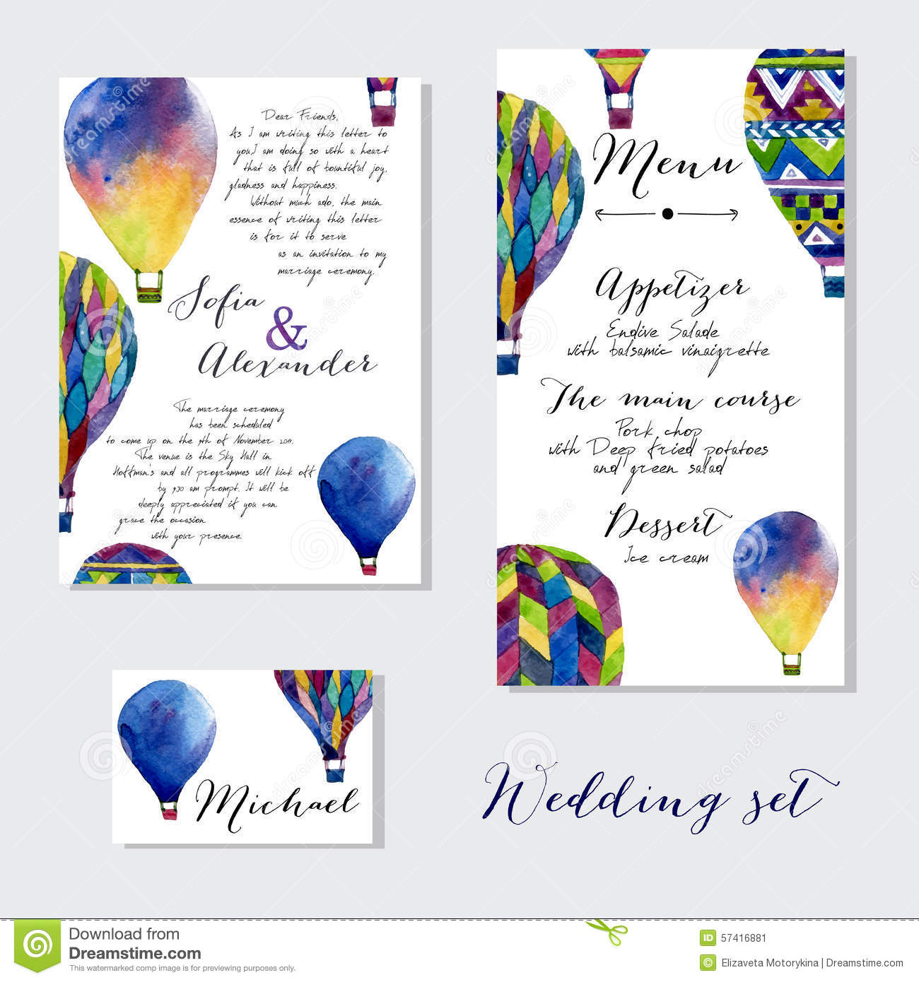 Watercolor Hot Air Balloon On Wedding Invitation Stock