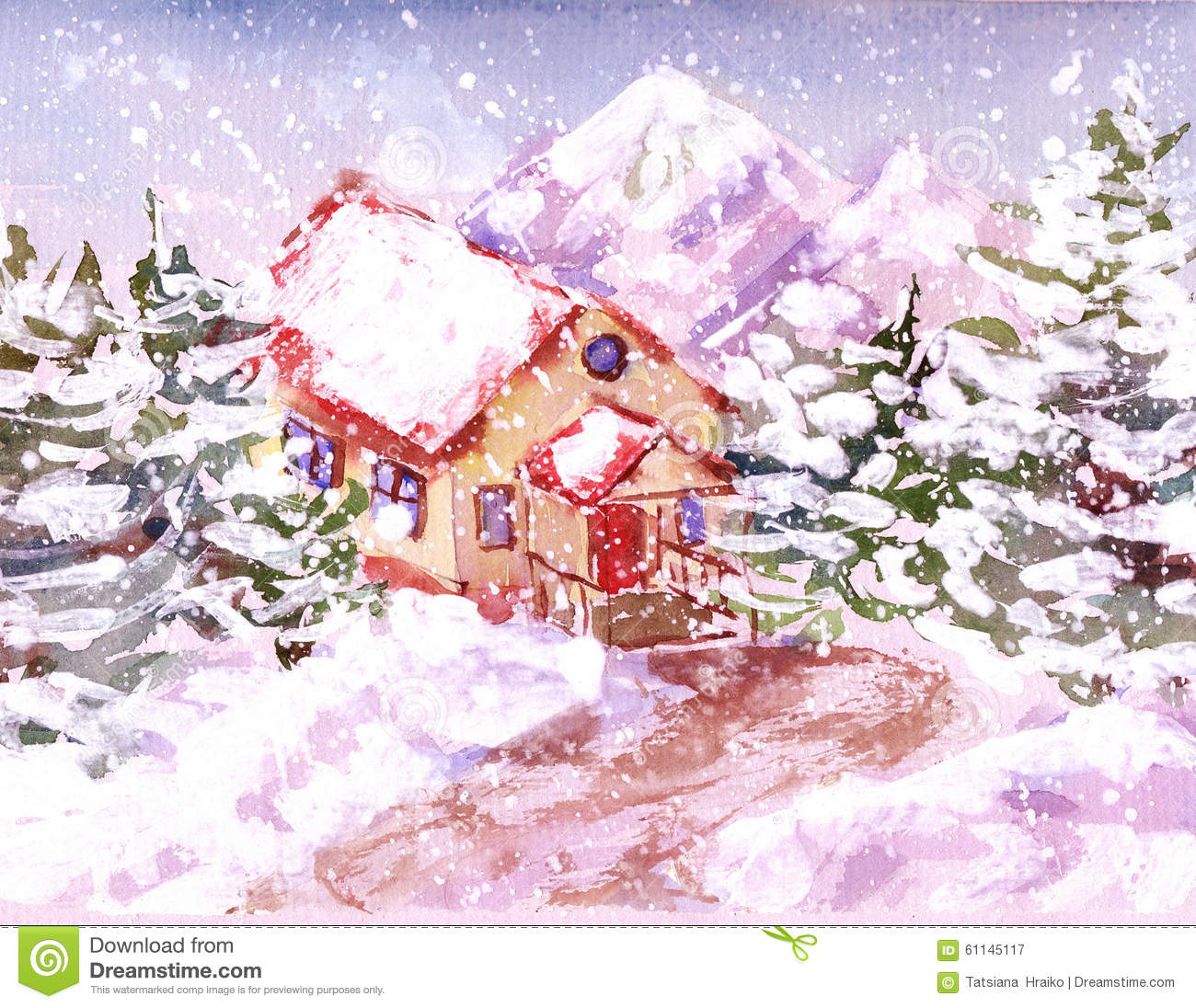 Watercolor House In The Mountains It Is Snowing Stock Illustration ...