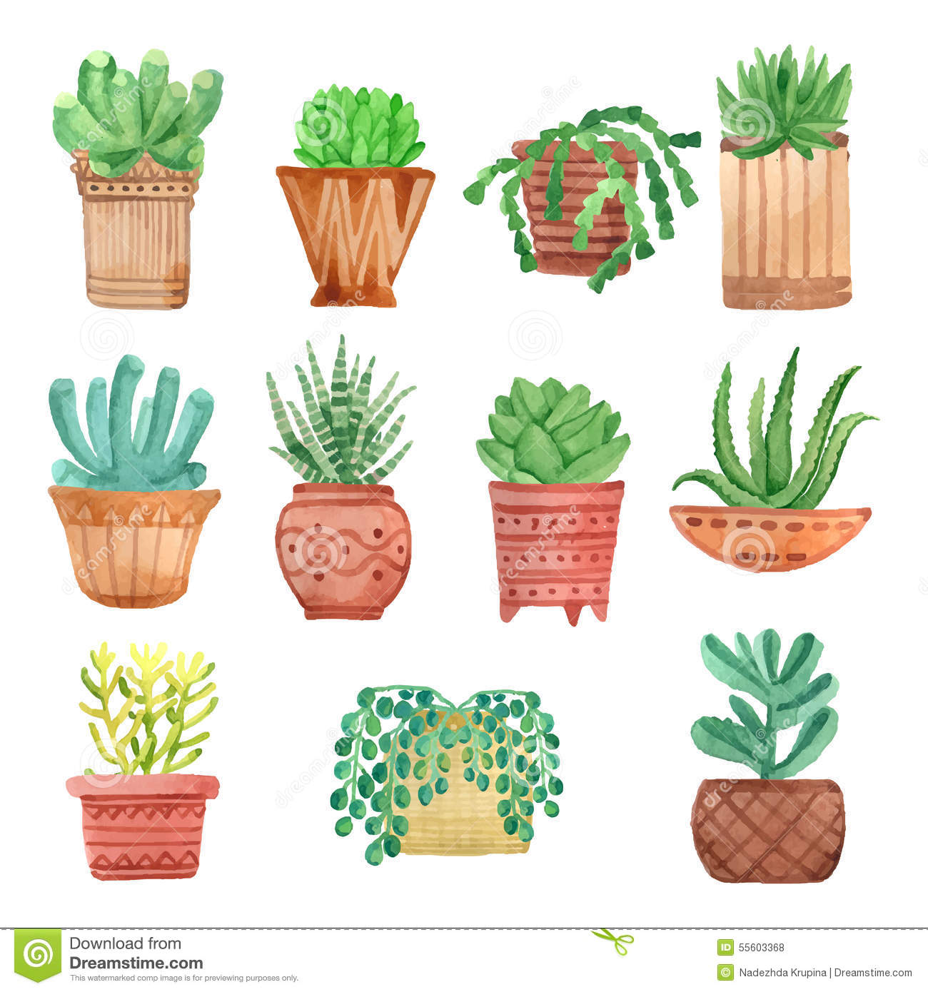 Watercolor Houseplants In Pots Set Stock Vector Image
