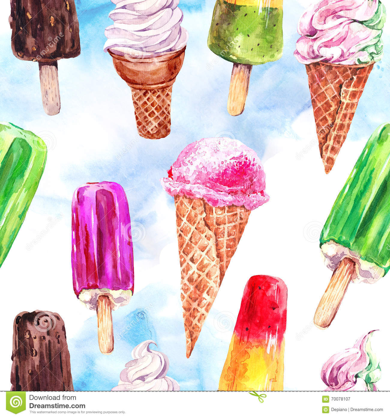 Seamless Pattern With Hand Drawn Watercolor Ice Cream: Watercolor Ice Cream Seamless Pattern Stock Illustration