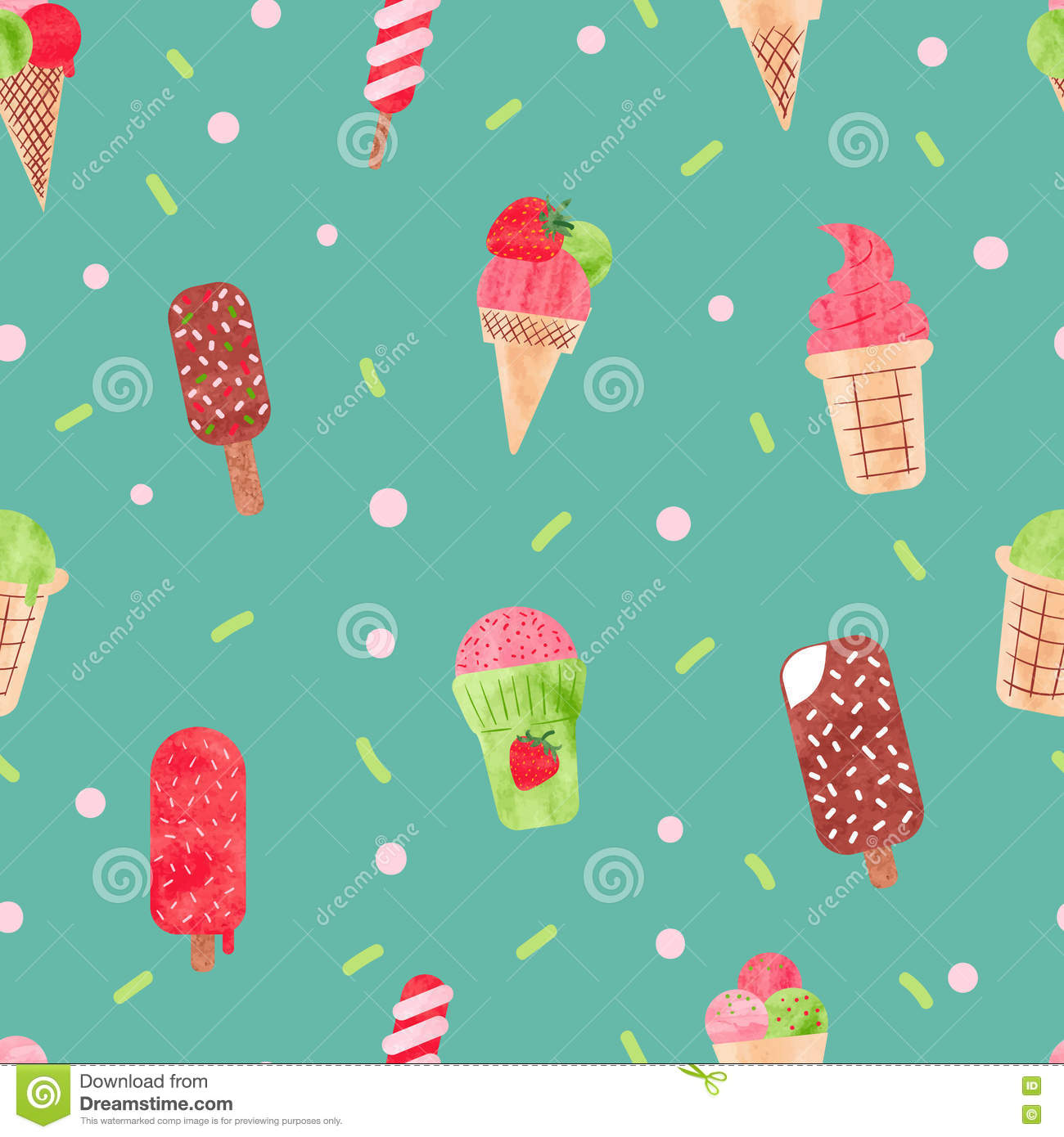 Pattern Cute Colorful Ice Cream Textiles Stock Vector: Watercolor Ice Cream Seamless Pattern. Stock Photo