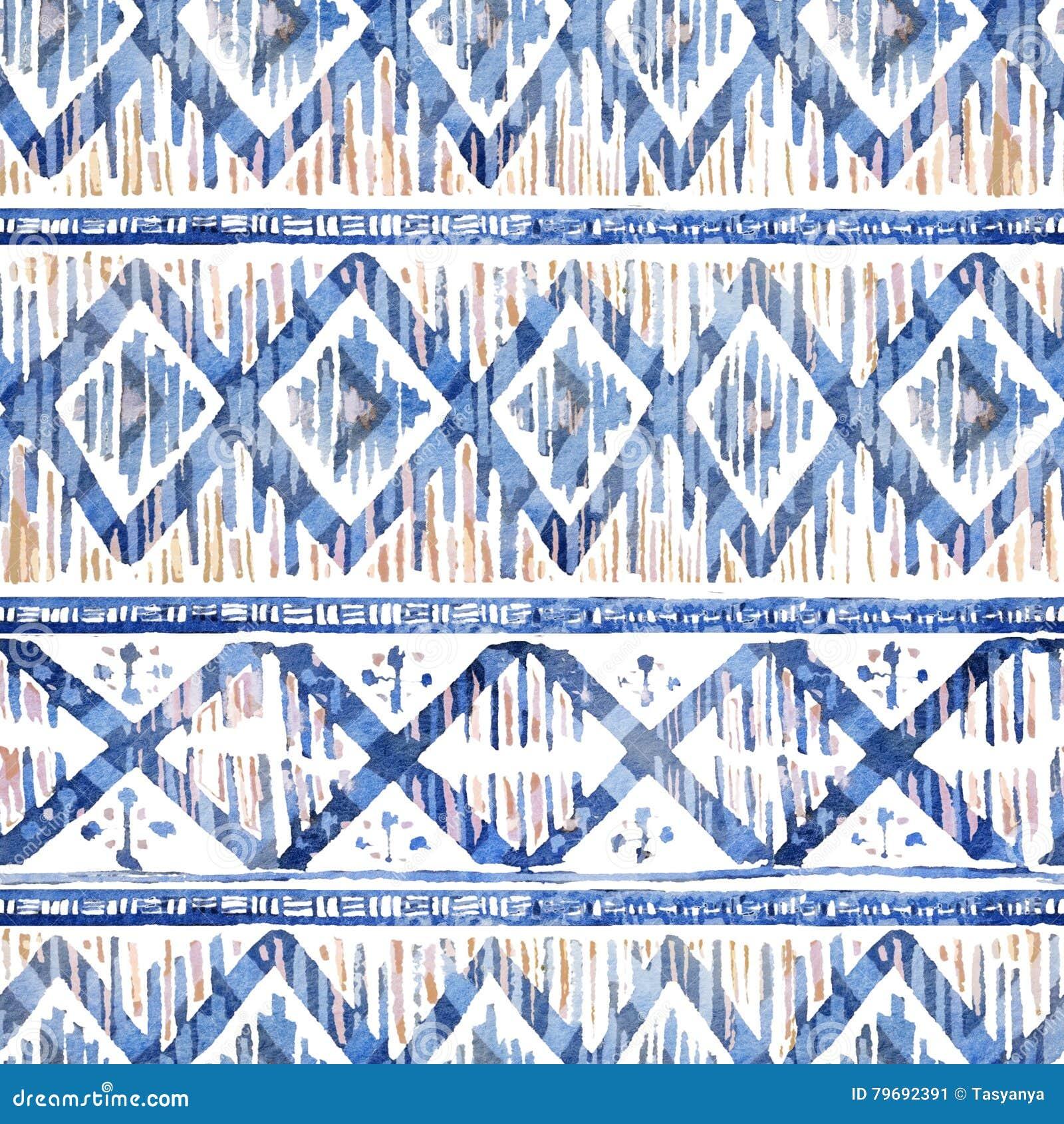 Watercolor ikat seamless pattern. Vibrant ethnic rhombus in watercolour.