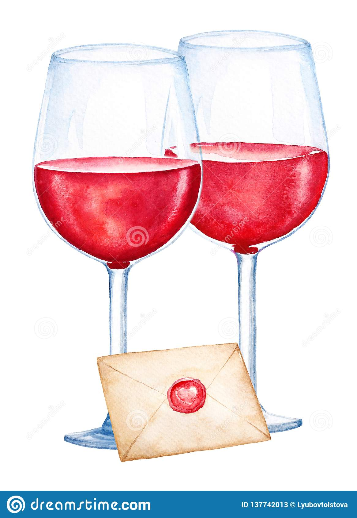 Watercolor illustartion of two glasses with red wine and closed envelope on white background