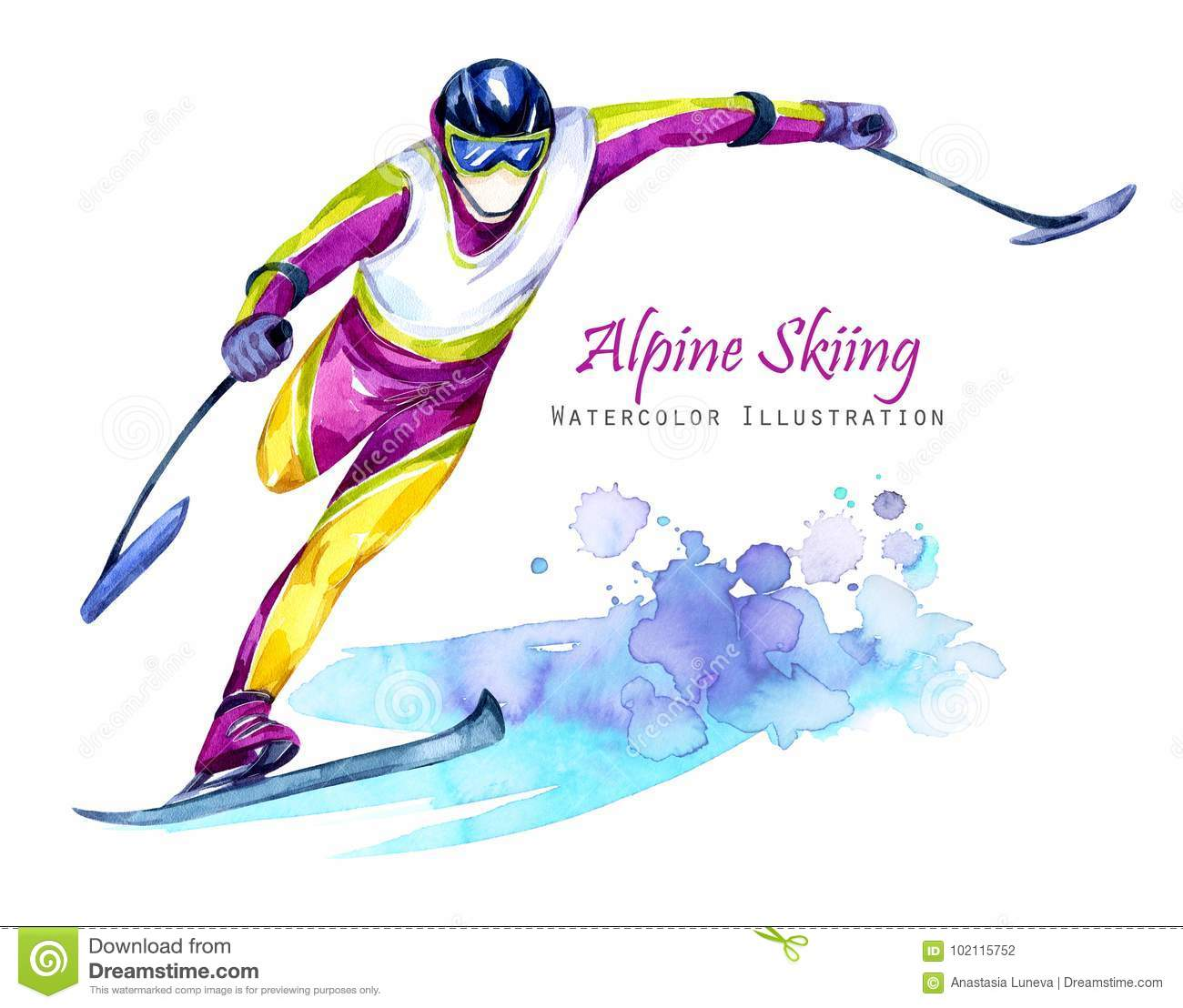 Watercolor illustration. Alpin Skiing. Disability snow sports. Disabled athlete riding by ski on snow. Active people