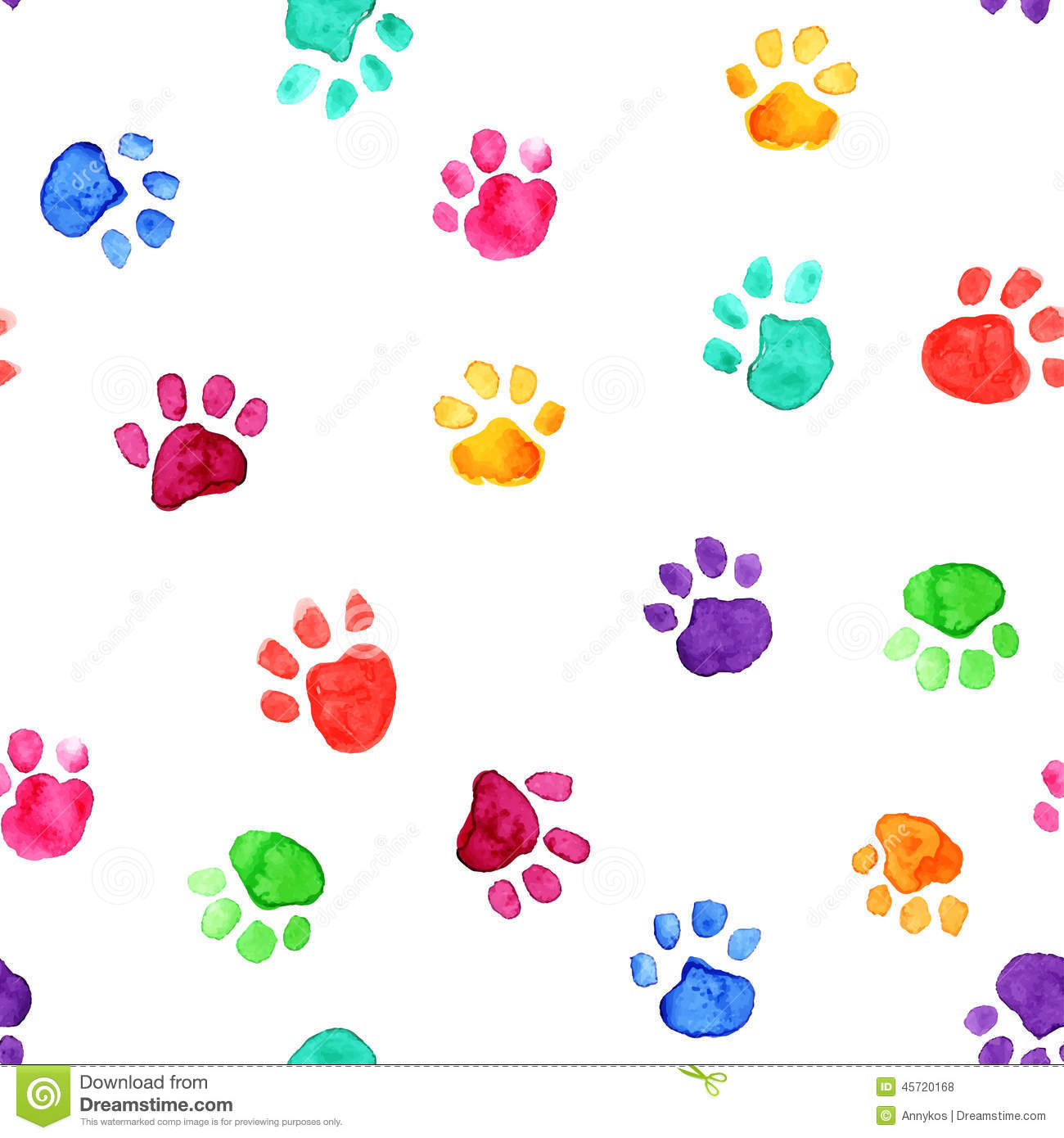 watercolor illustration with animal footprints stock vector