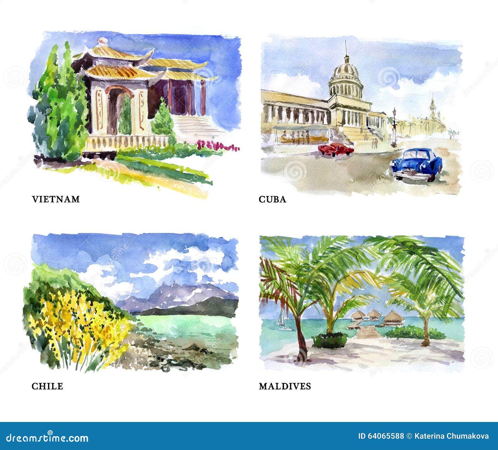 Watercolor Illustration Of Beautiful Nature Views