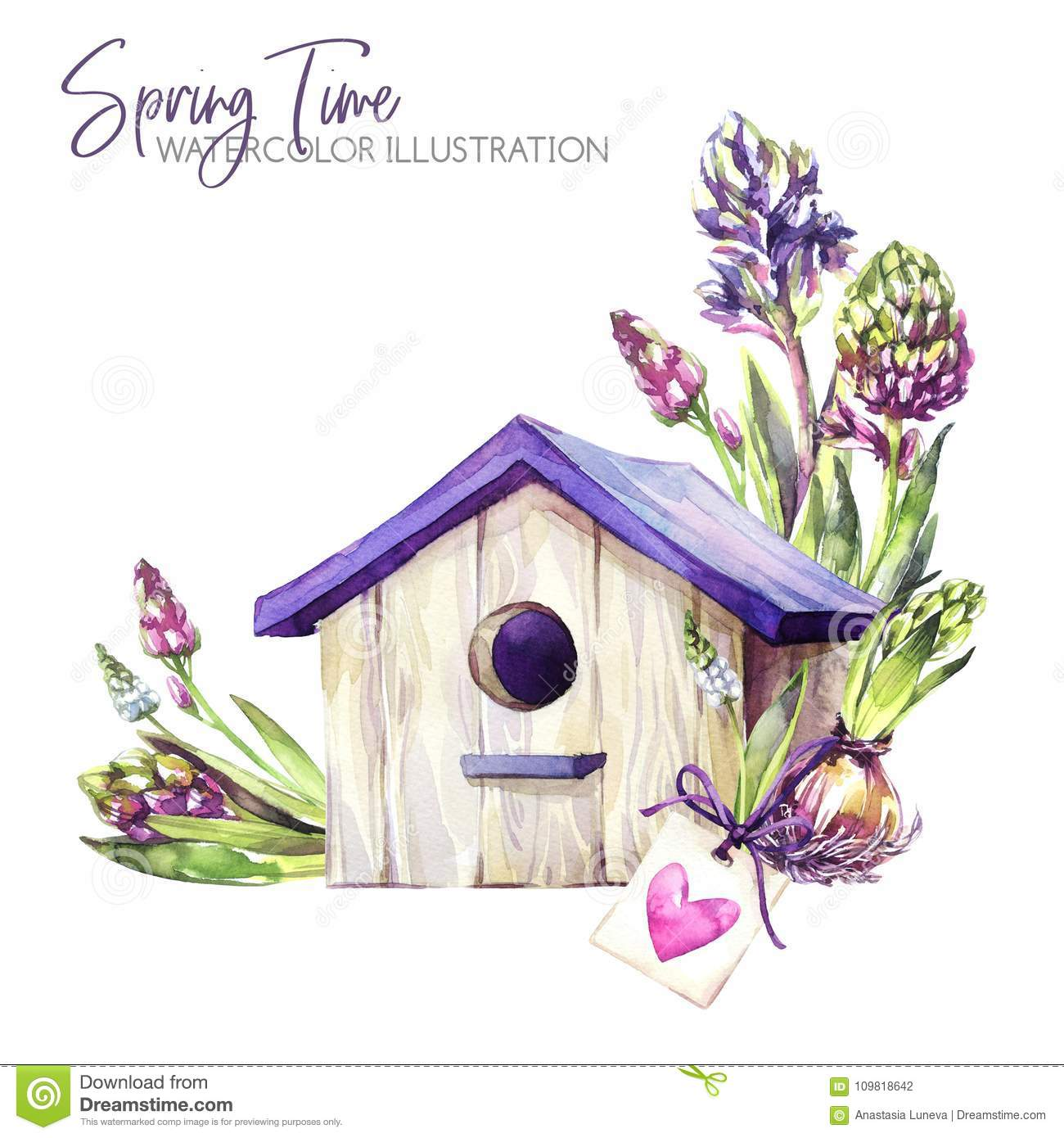 Download Watercolor Illustration Birdhouse With Hyacinth Seedlings And Tag Rustic Objects Spring Collection