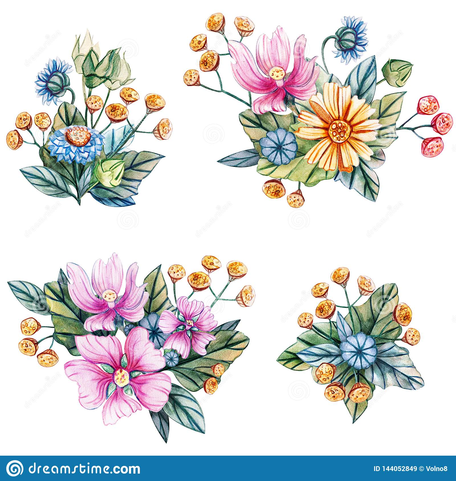 Watercolor illustration with bouquets of wildflowers
