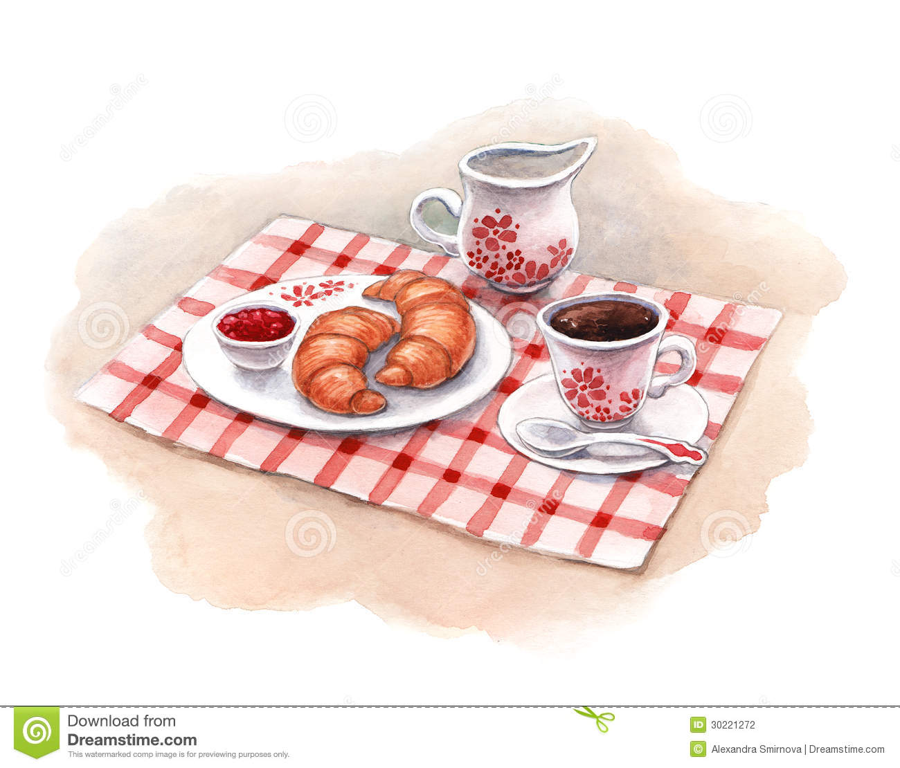 Watercolor Breakfast. ...