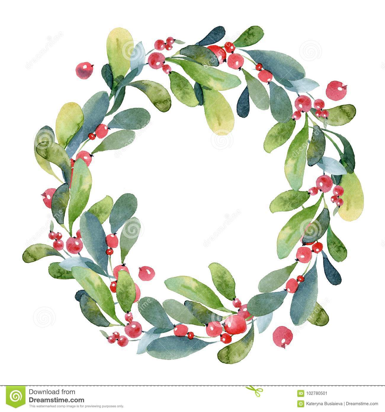 Watercolor Christmas Wreath Of Green Branch Leaves And Berry Stock