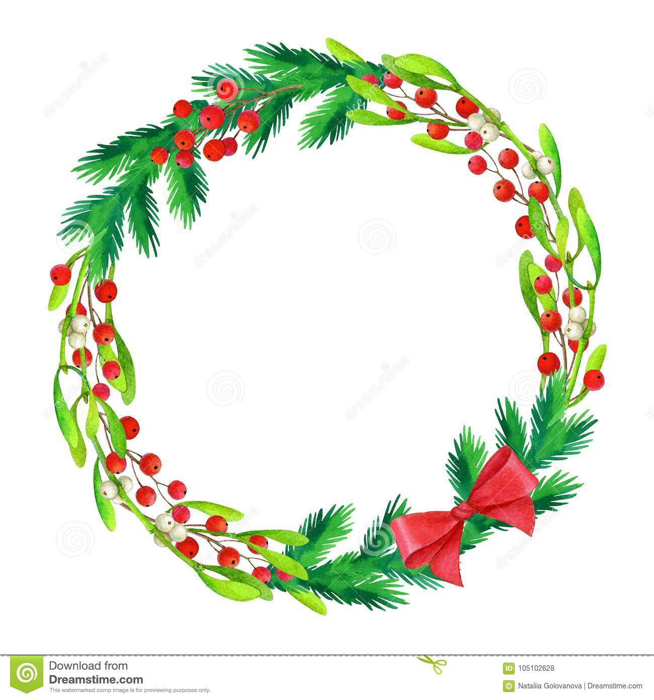 watercolor illustration of christmas wreath stock illustration