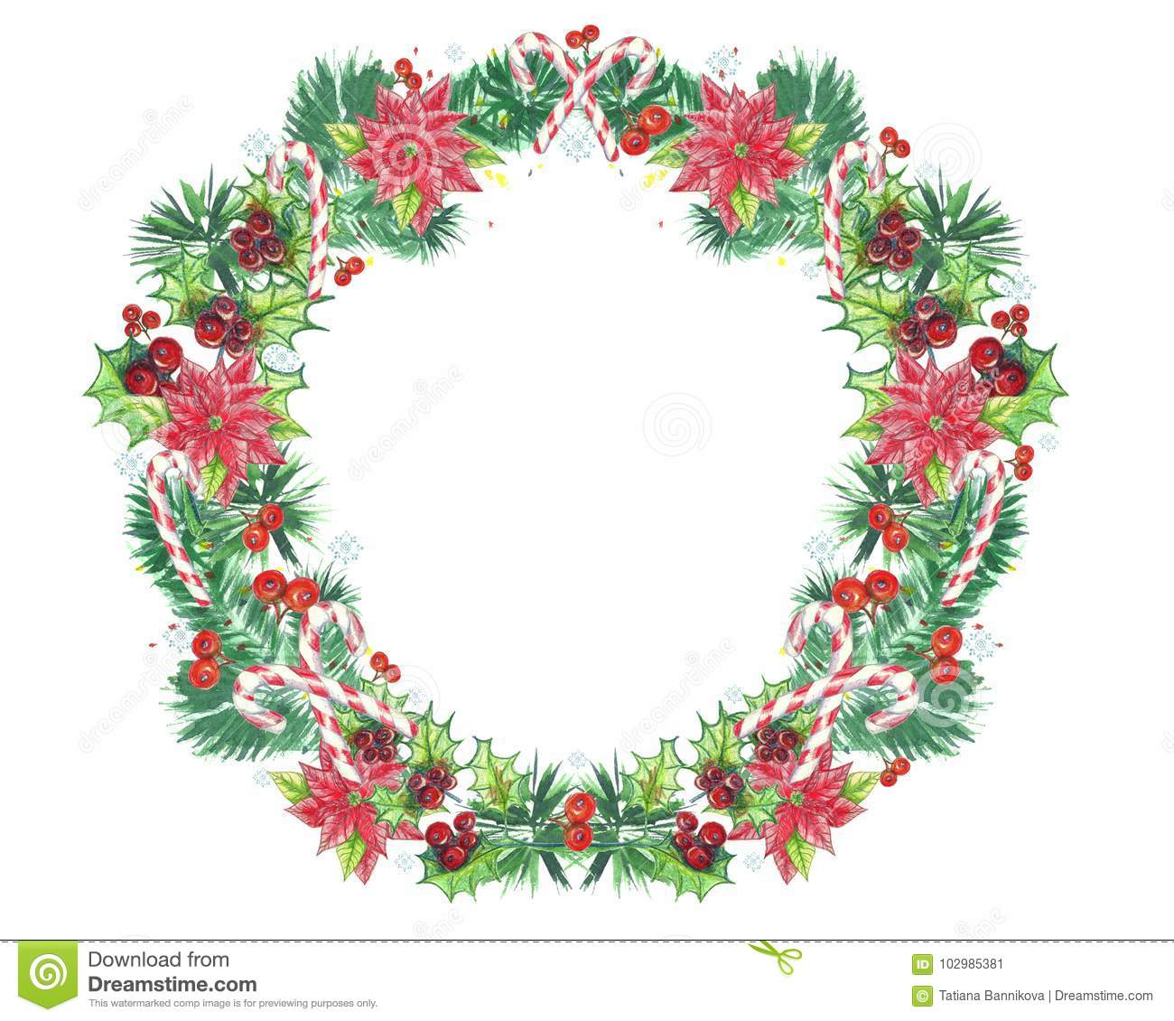 Watercolor illustration christmas wreath with poinsettia for 5ft poinsettia garland christmas decoration