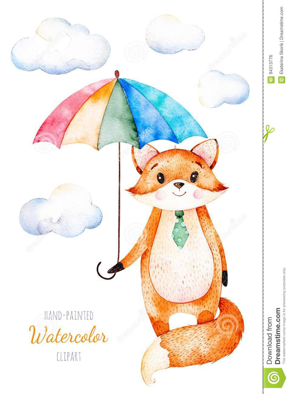 Watercolor illustration.Cute little Fox with multicolored umbrella