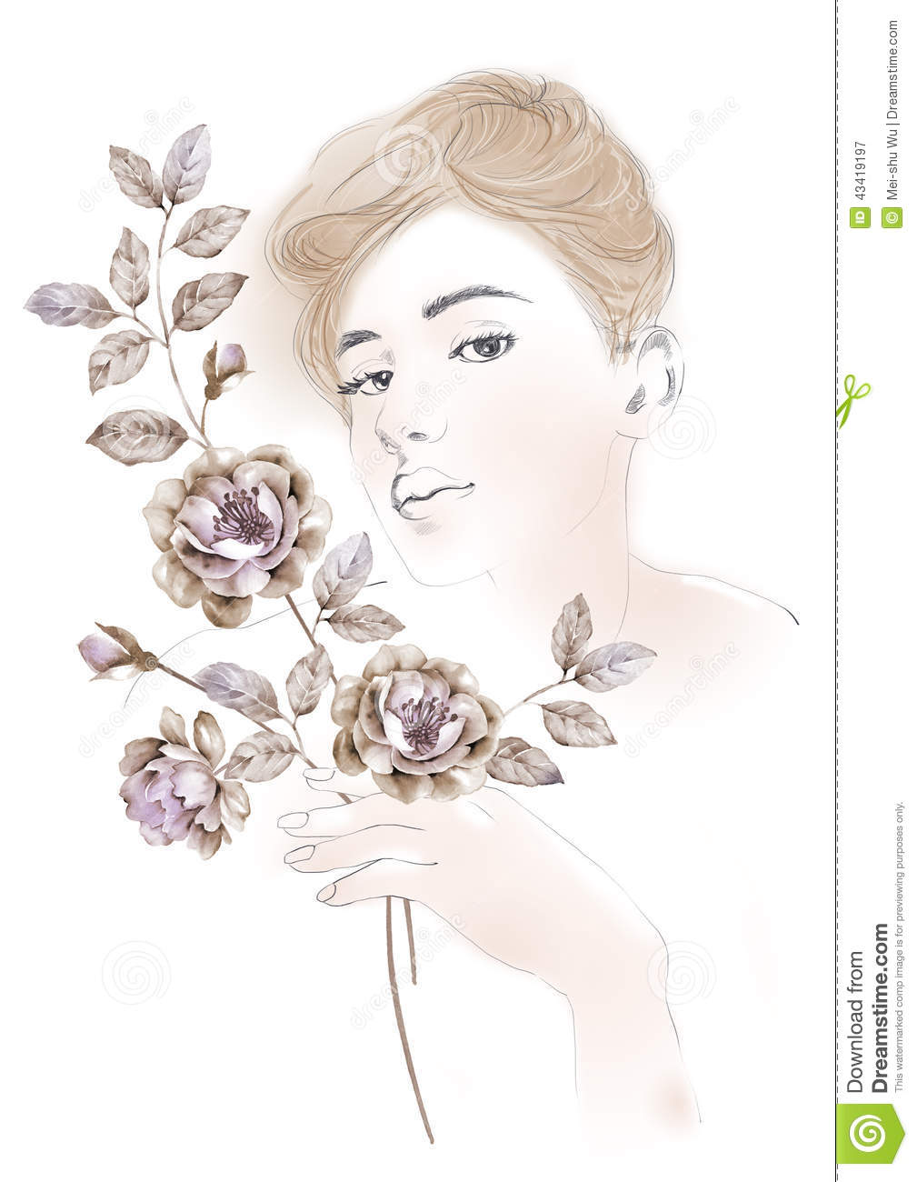 Watercolor Illustration Flowers And Portrait Of Beautiful