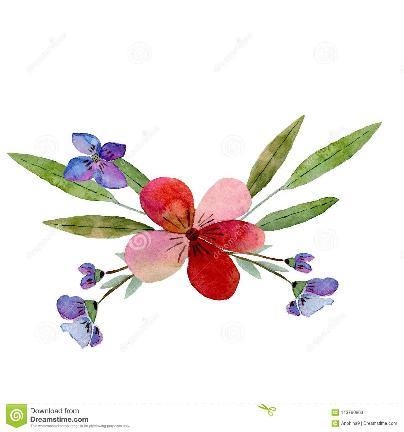 Watercolor Illustration Green Leaves And Red, And Blue Flowers Stock ...
