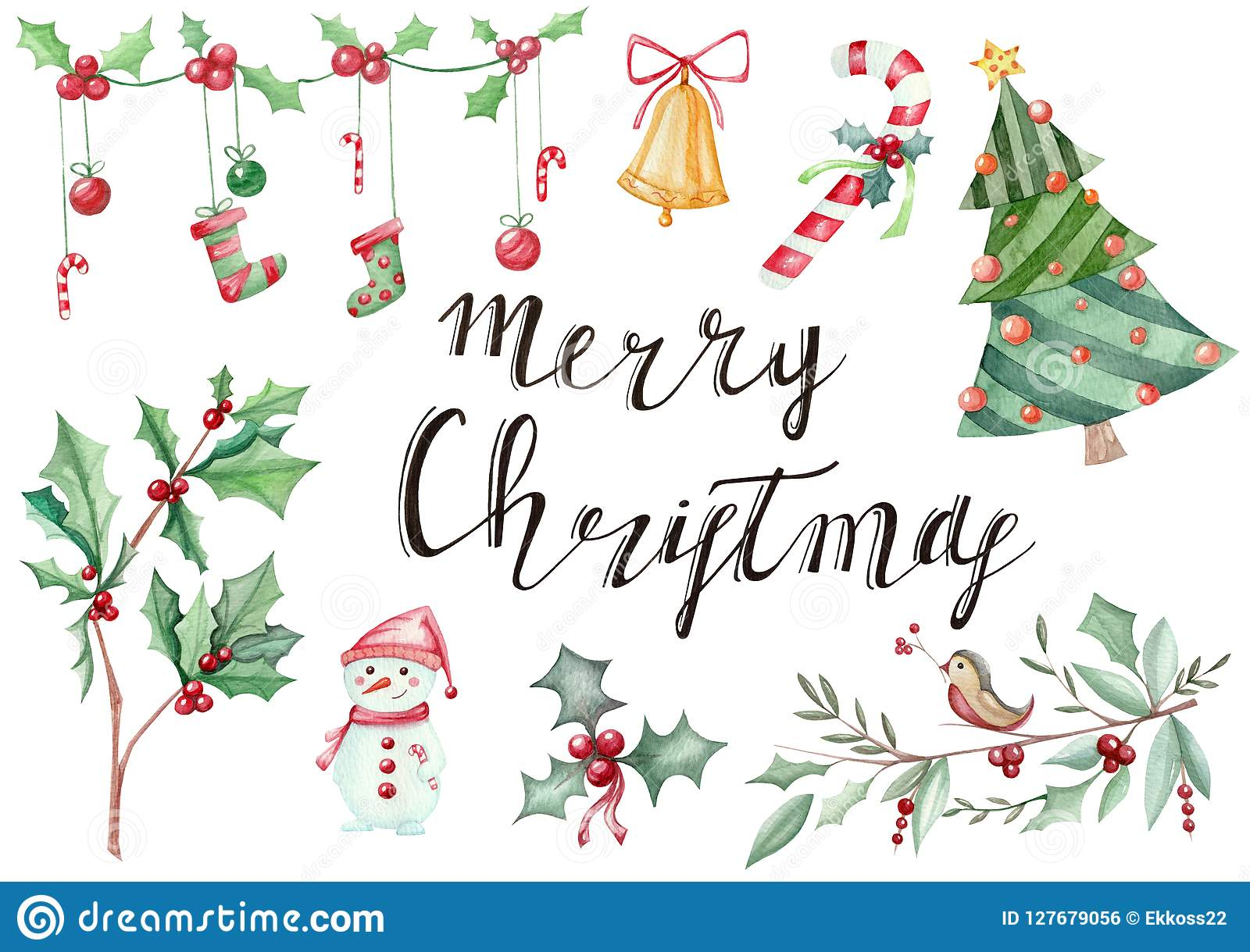Illustration hand drawn with New Year`s Christmas symbolics