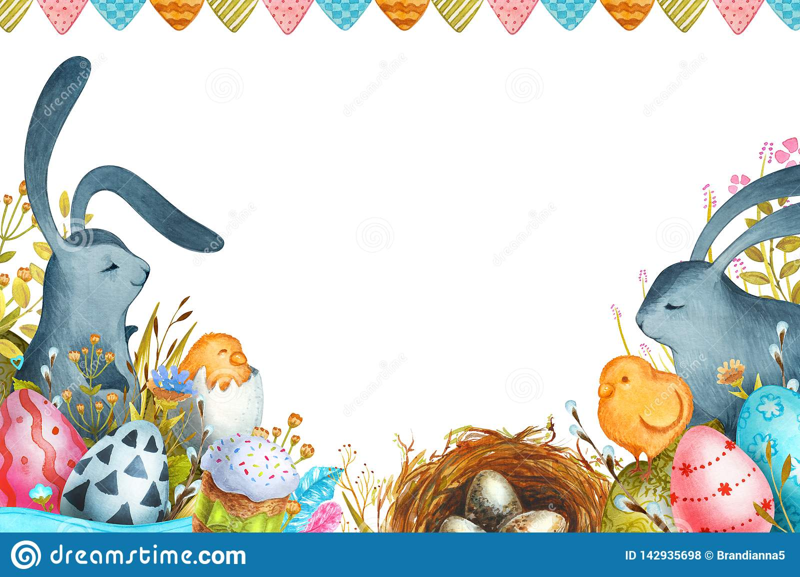 Watercolor illustration Happy Easter. Easter bunnies and Easter eggs.