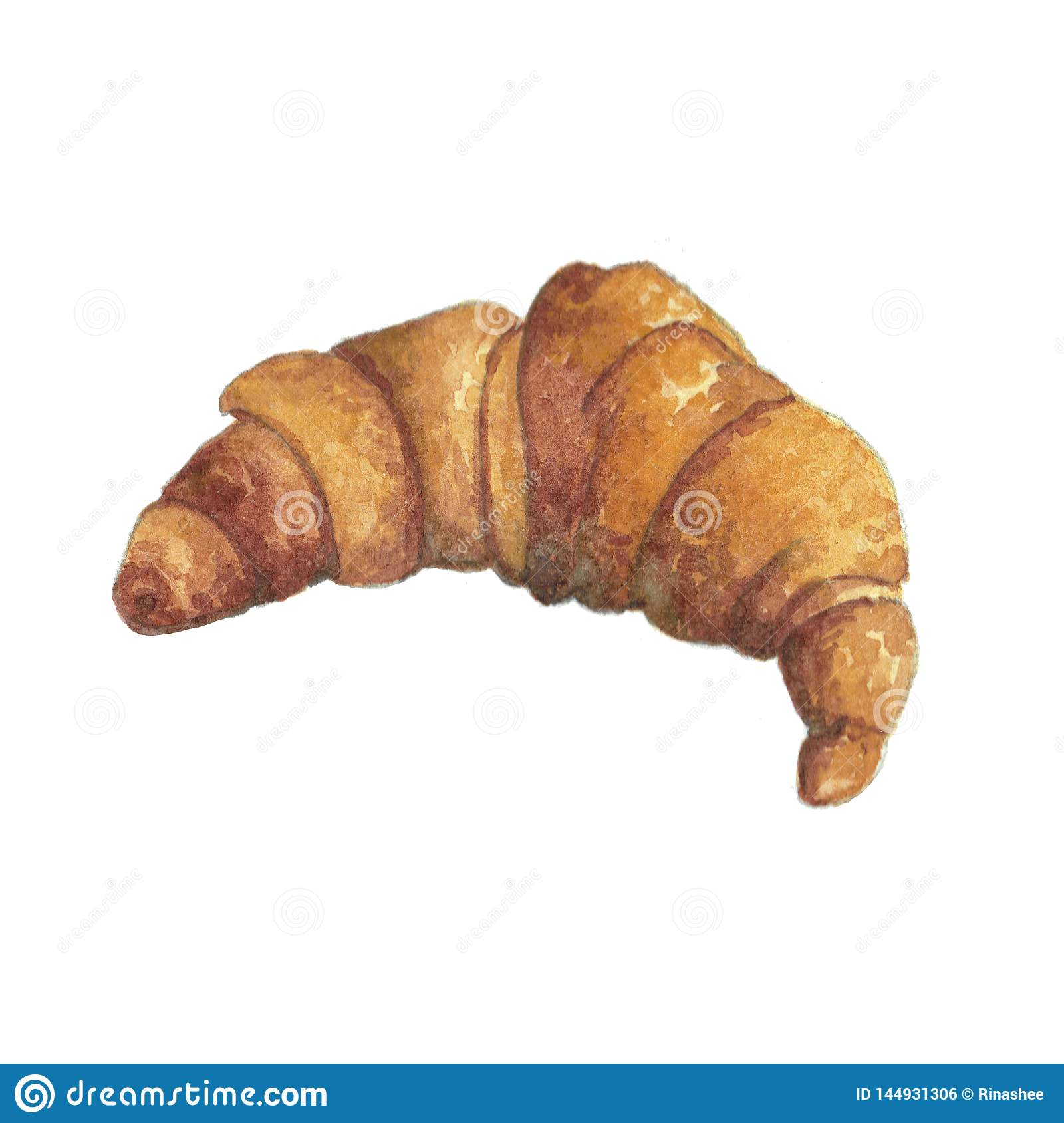Watercolor illustration of hot French croissant