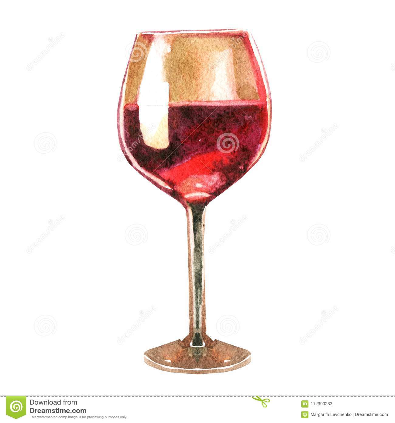 Watercolor illustration. Image of a glass of wine.