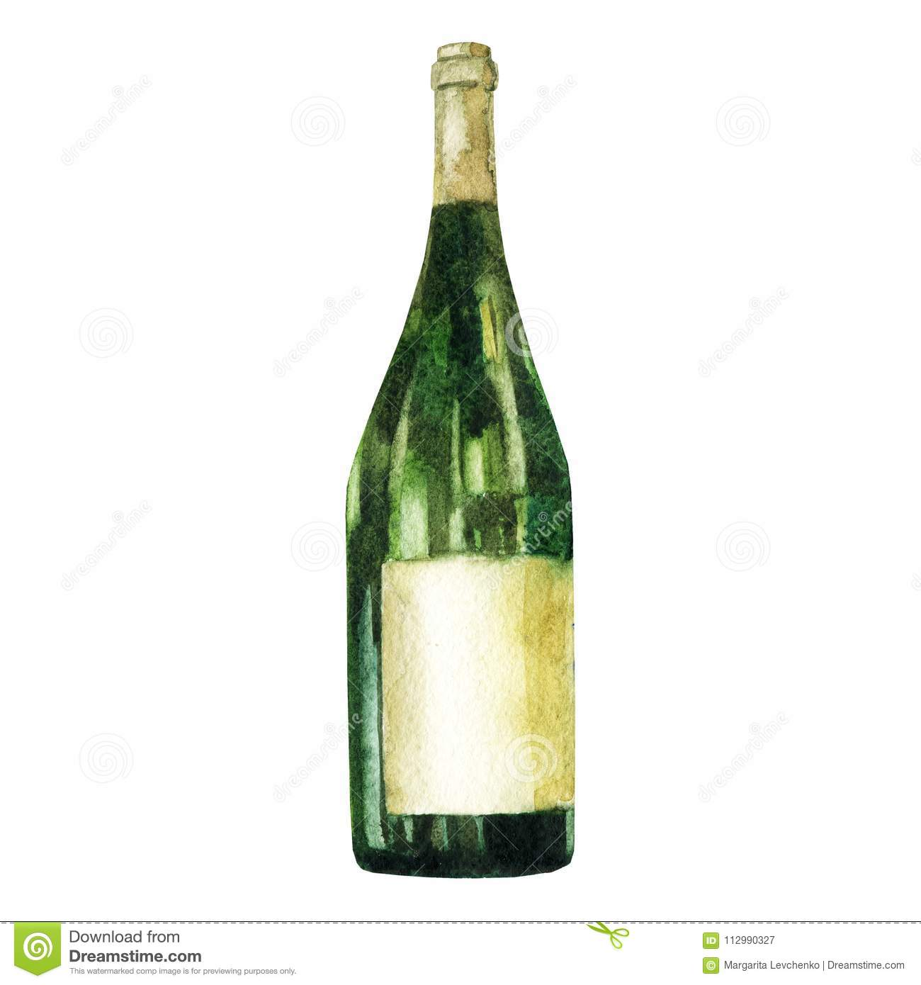 Watercolor illustration. Image of a green bottle of wine.